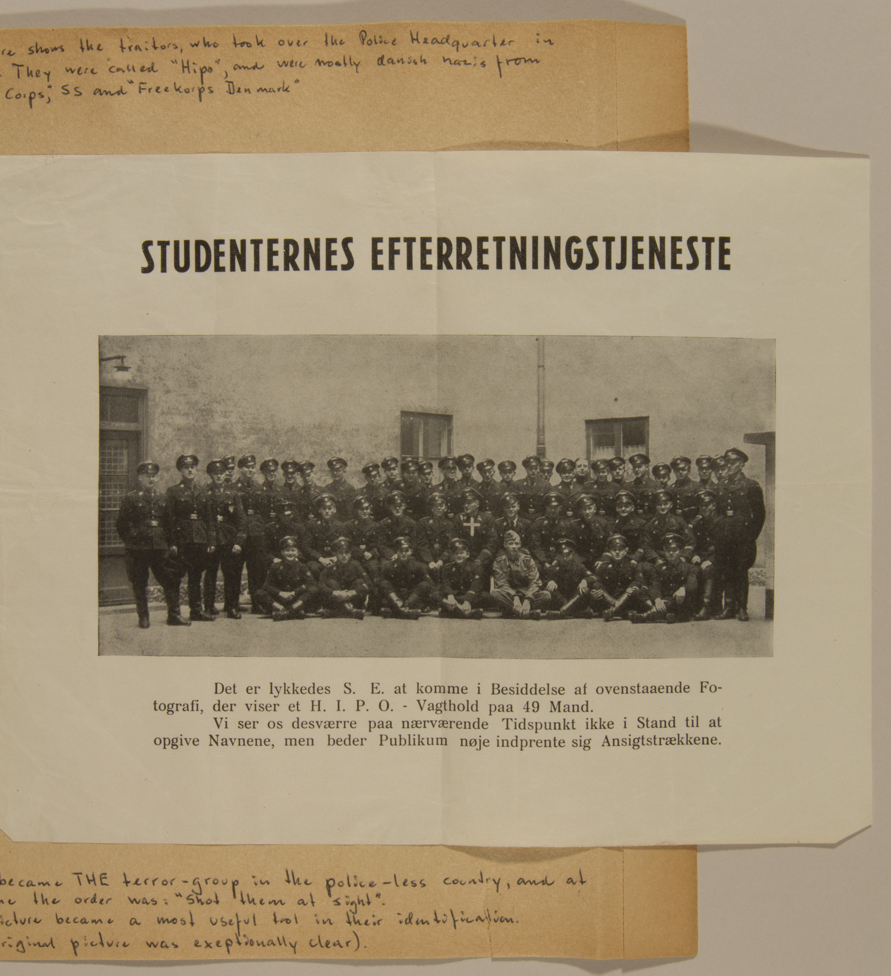 "Page from volume five of a set of scrapbooks compiled by Bjorn Sibbern, a Danish policeman and resistance member, documenting the German occupation of Denmark.  This page contains a photograph of the newly appointed ""Hipo"" police.  Recruited from Danish Nazis, they replaced the old police force."