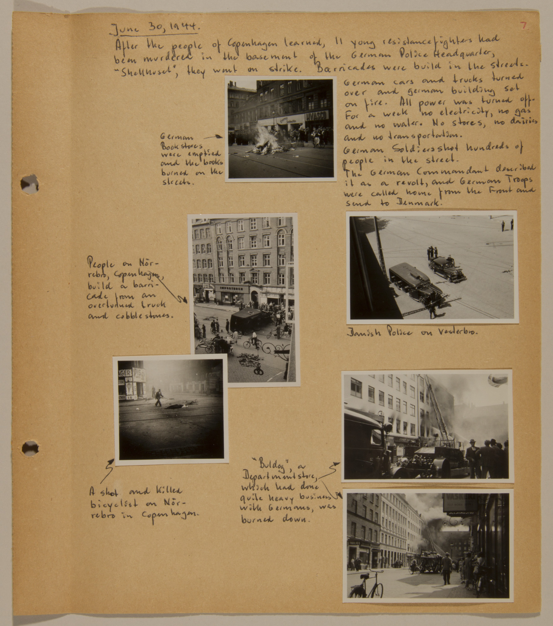 Page from volume five of a set of scrapbooks compiled by Bjorn Sibbern, a Danish policeman and resistance member, documenting the German occupation of Denmark.  This page contains six photographs of the fighting and strike that ensued on June 30, 1944 after the murder of 11 resistance fighters.