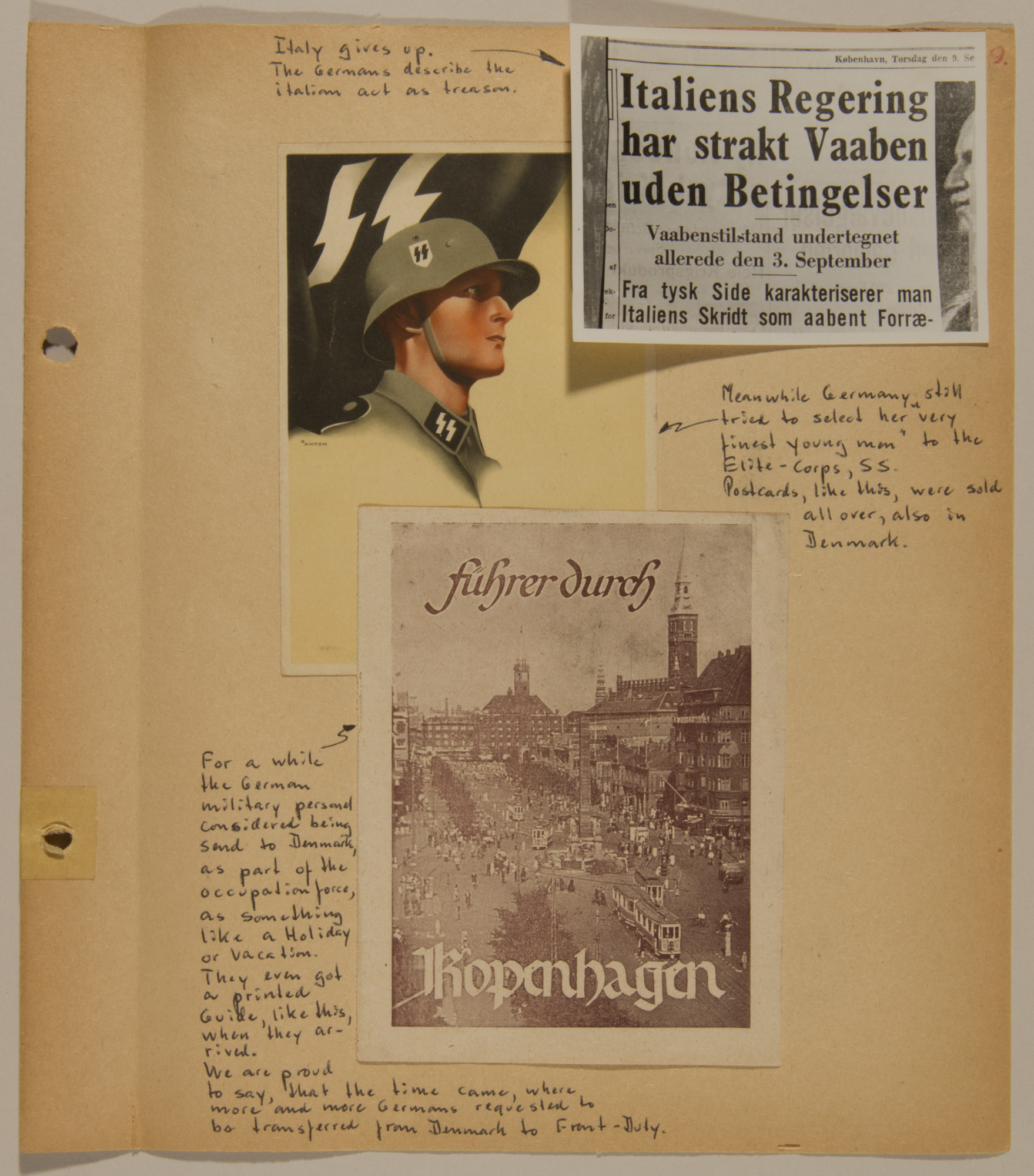 Page from volume five of a set of scrapbooks compiled by Bjorn Sibbern, a Danish policeman and resistance member, documenting the German occupation of Denmark.  This page contains Nazi postcards and a newspaper clipping denouncing Italy's surrender.