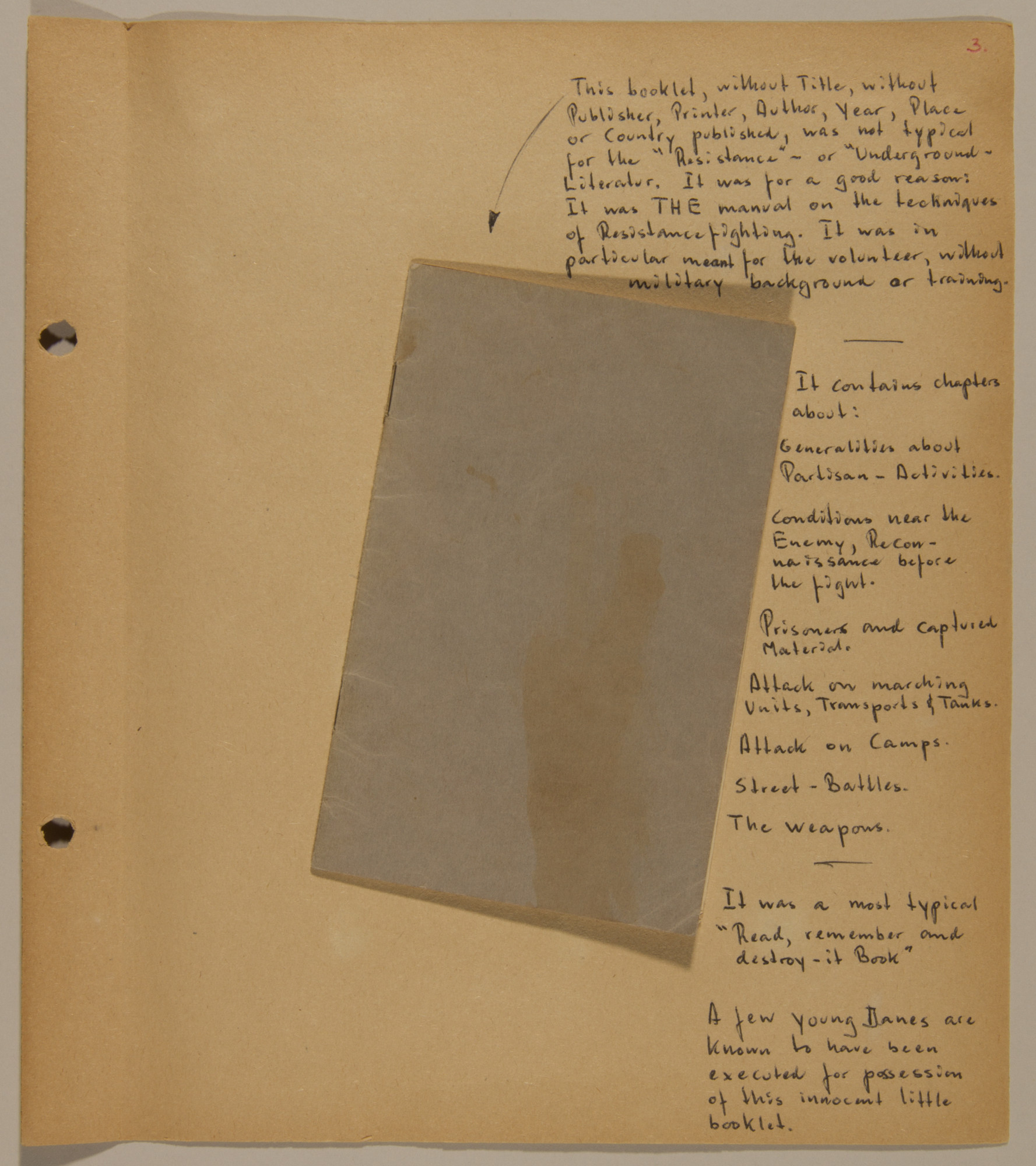 Page from volume five of a set of scrapbooks compiled by Bjorn Sibbern, a Danish policeman and resistance member, documenting the German occupation of Denmark.  This page contains the resistance fighting manual published without any identifying marks on the cover.
