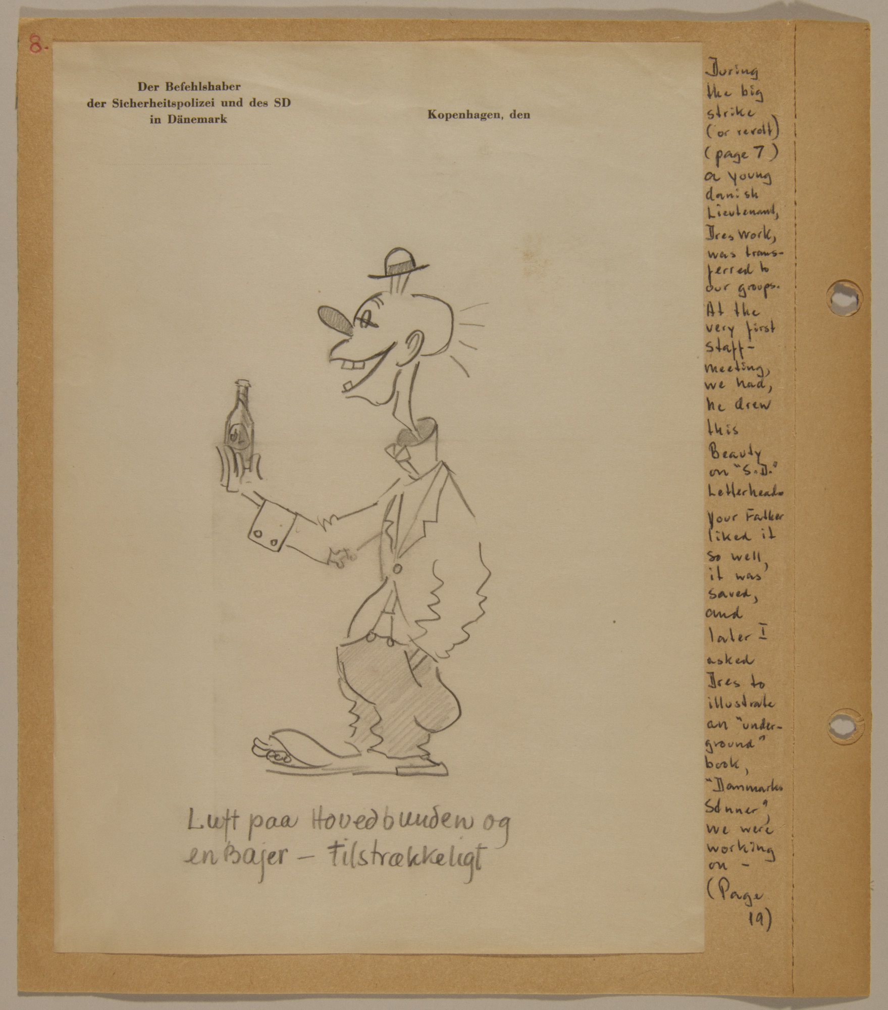 Page from volume five of a set of scrapbooks compiled by Bjorn Sibbern, a Danish policeman and resistance member, documenting the German occupation of Denmark.  This page contains a clown caricature drawn on SD stationary by a member of the resistance.