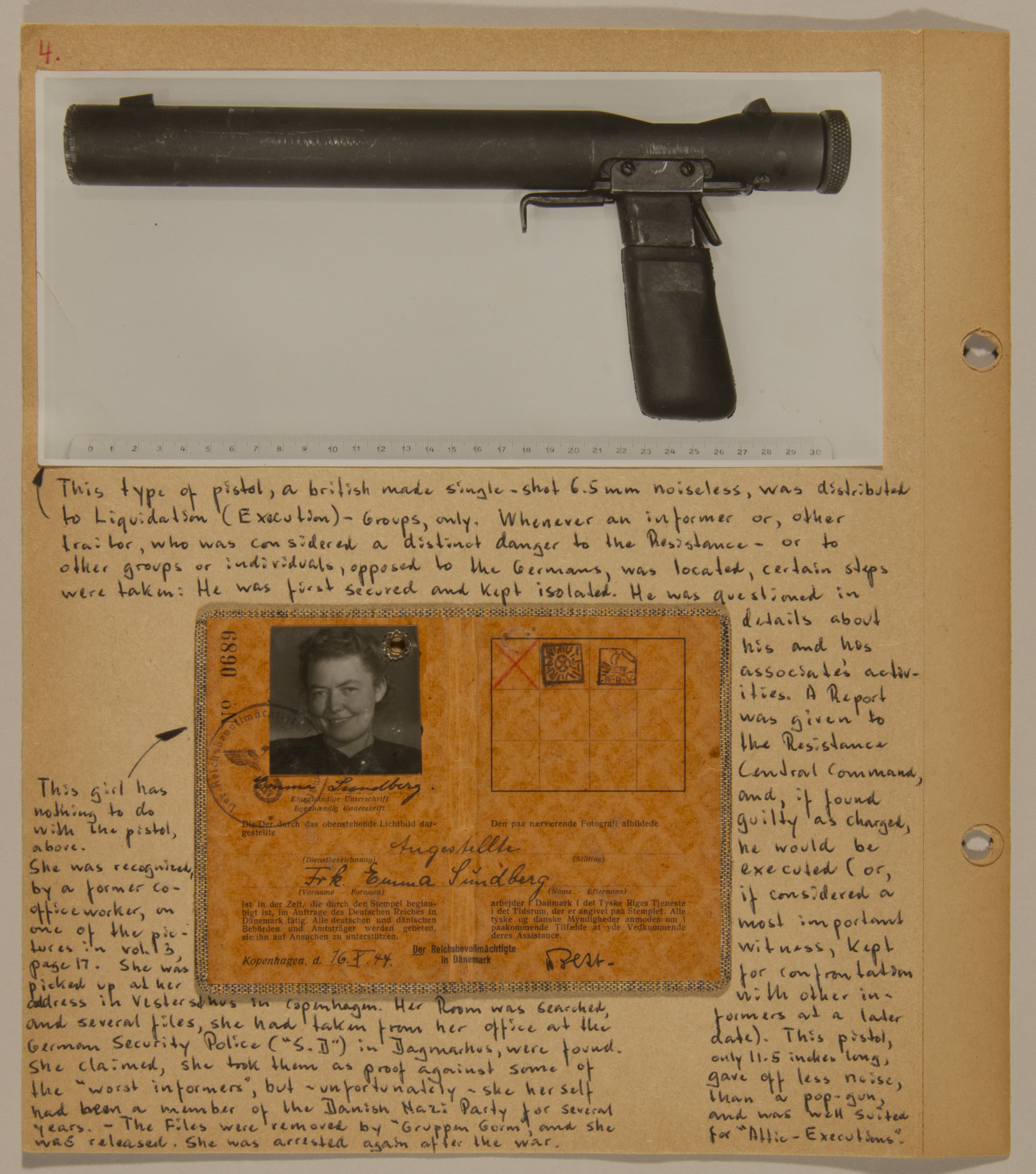 Page from volume five of a set of scrapbooks compiled by Bjorn Sibbern, a Danish policeman and resistance member, documenting the German occupation of Denmark.  This page includes a photograph of the gun used by the underground to execute Nazi informers and an ID card of a female member of the Danish Nazi party.