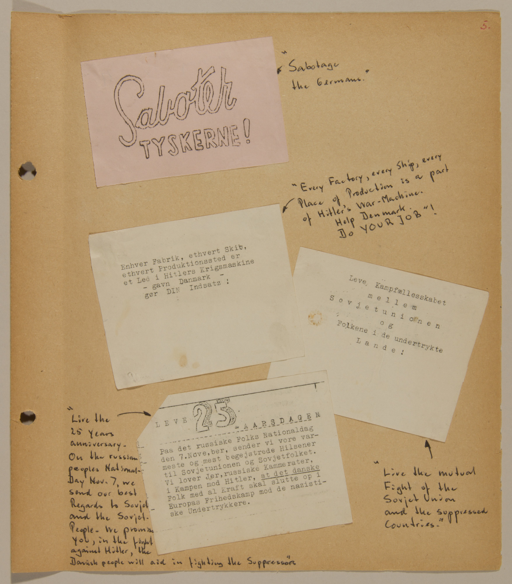 Page from volume five of a set of scrapbooks compiled by Bjorn Sibbern, a Danish policeman and resistance member, documenting the German occupation of Denmark.  This page conatins anti-Nazi leaflets.