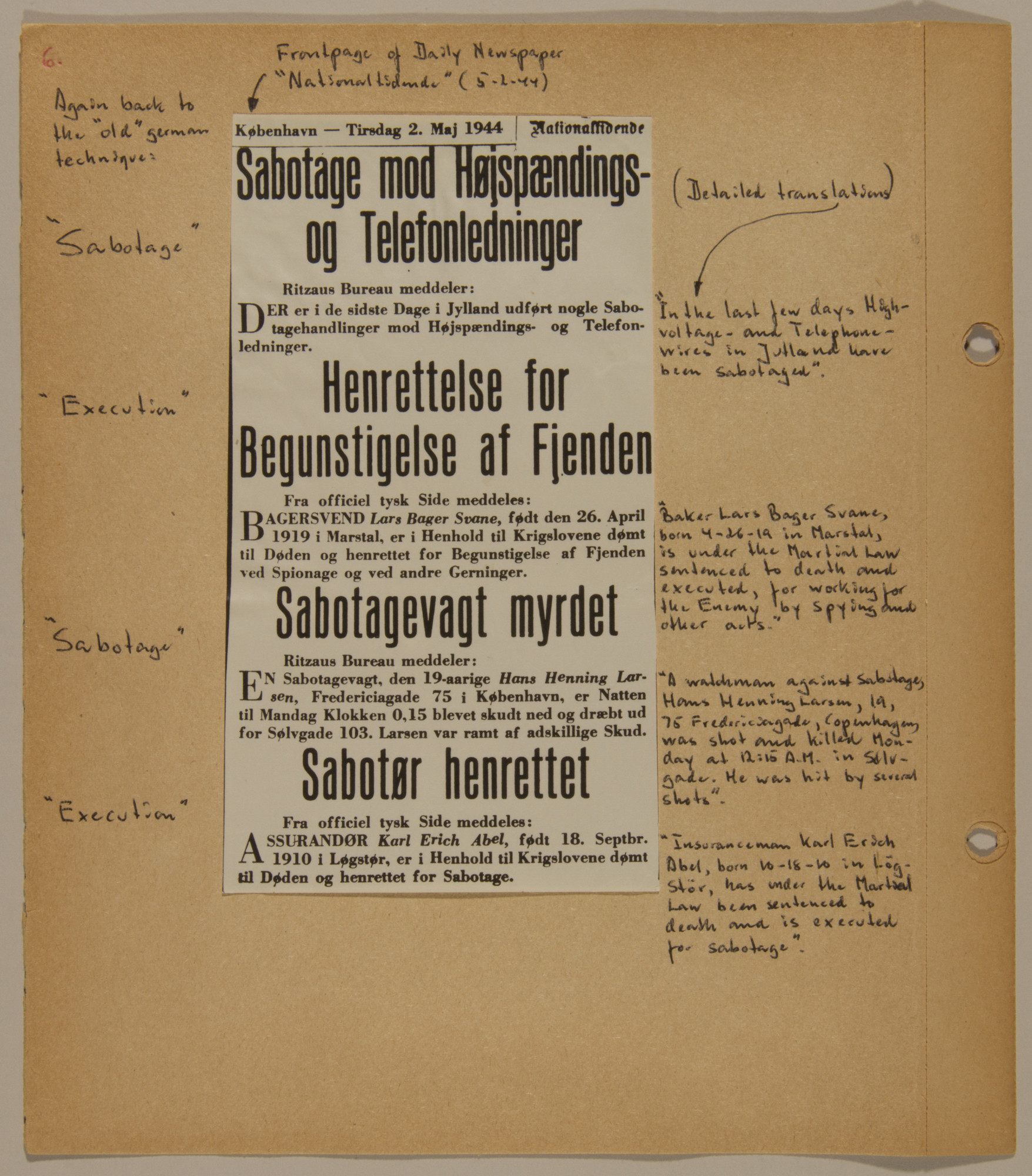 Page from volume five of a set of scrapbooks compiled by Bjorn Sibbern, a Danish policeman and resistance member, documenting the German occupation of Denmark.  This page contains a May 2, 1944 newspaper clipping about sabotage.