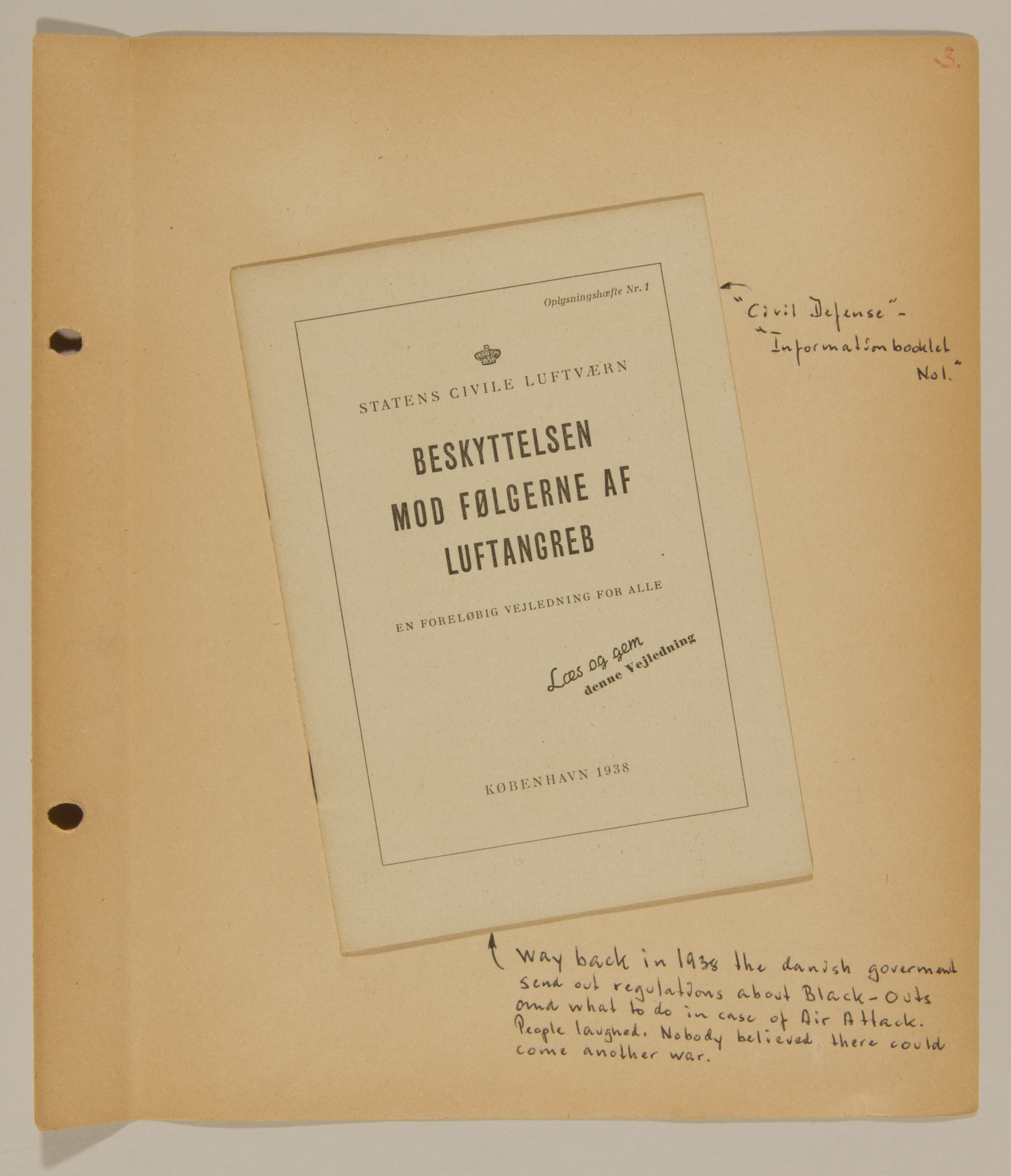 Page from volume one of a set of scrapbooks compiled by Bjorn Sibbern, a Danish policeman and resistance member, documenting the German occupation of Denmark.  This page has a pamphlet on blackout regulations from 1938.