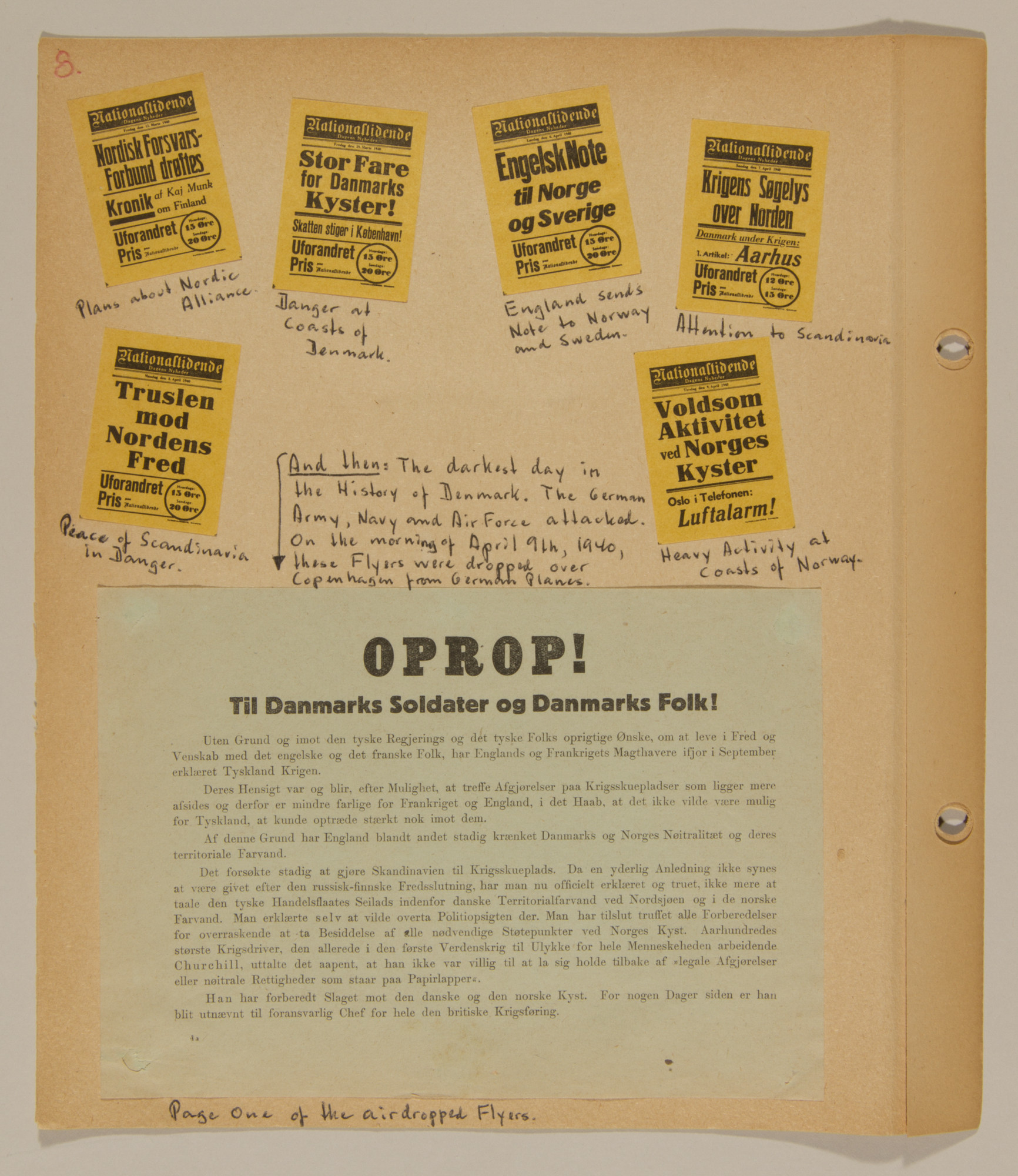 Page from volume one of a set of scrapbooks compiled by Bjorn Sibbern, a Danish policeman and resistance member, documenting the German occupation of Denmark.  This contains a flyer air-dropped from a German airplane.