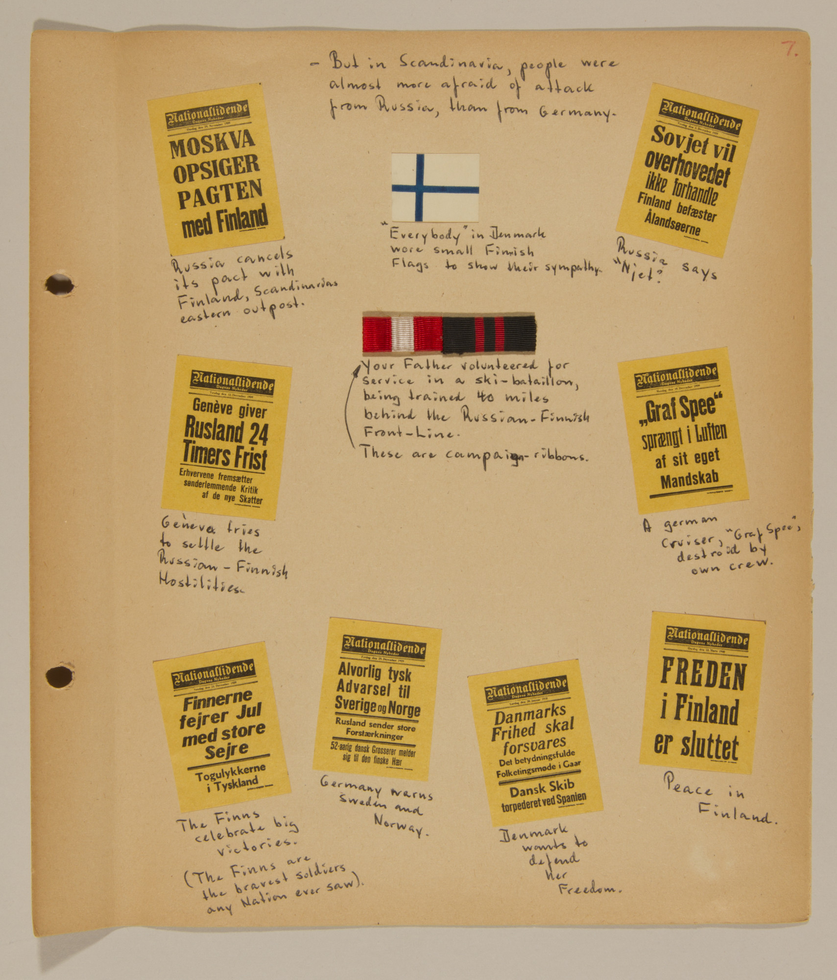 Page from volume one of a set of scrapbooks compiled by Bjorn Sibbern, a Danish policeman and resistance member, documenting the German occupation of Denmark.  This page has press headlines from the summer and fall of 1939 and talks about the Scandinavian fear of attack from Russia.