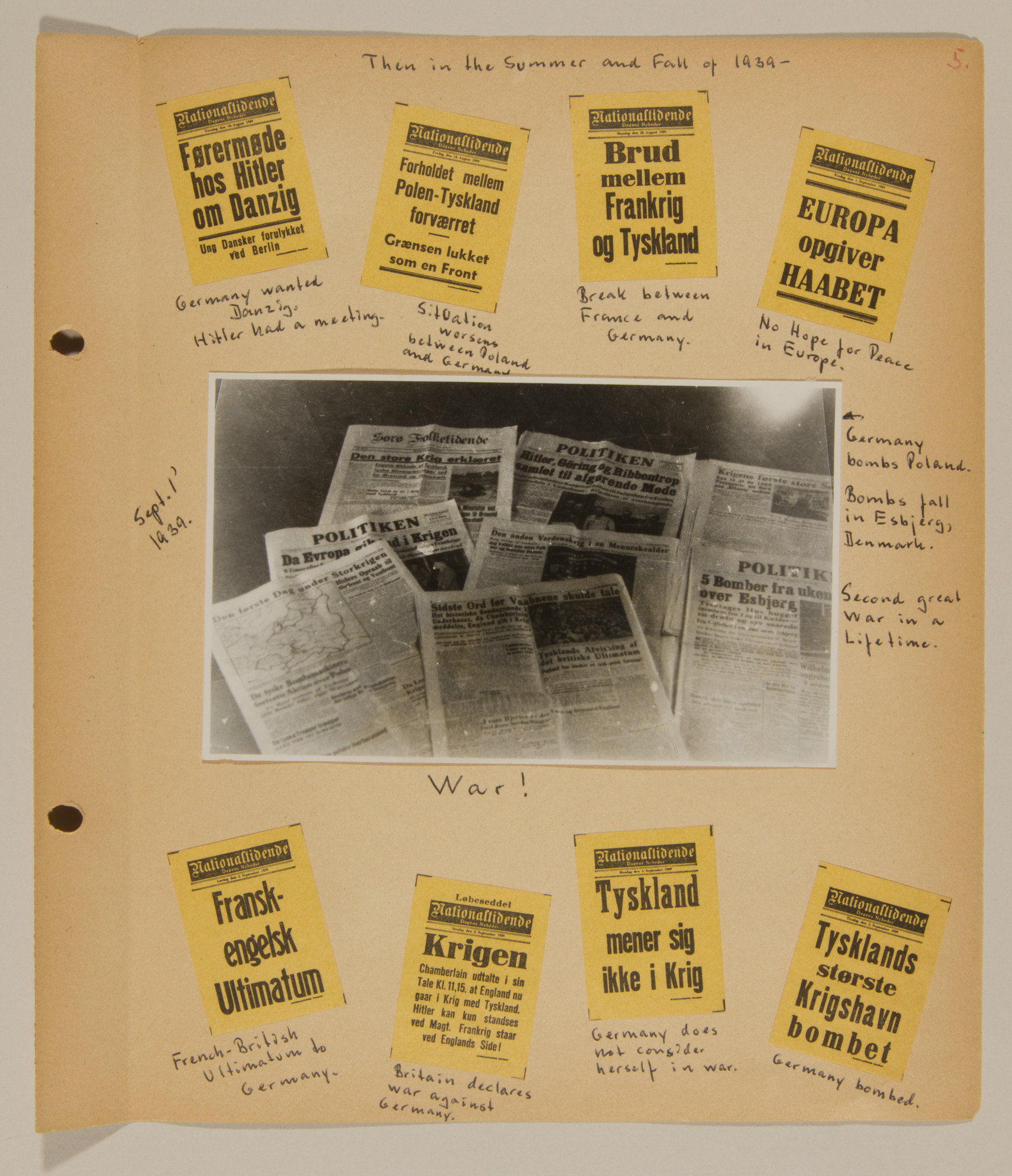 Page from volume one of a set of scrapbooks compiled by Bjorn Sibbern, a Danish policeman and resistance member, documenting the German occupation of Denmark.  This page has press headlines from the summer and fall of 1939.