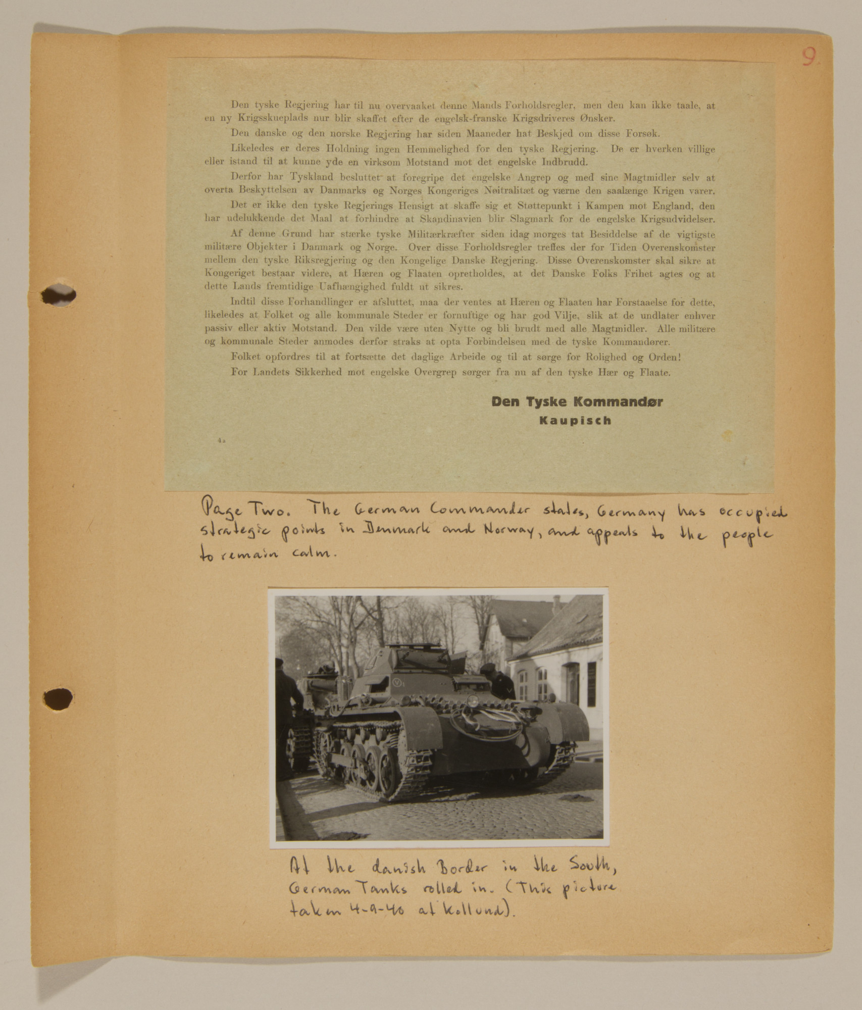 Page from volume one of a set of scrapbooks compiled by Bjorn Sibbern, a Danish policeman and resistance member, documenting the German occupation of Denmark.  This page documents the German invasion.