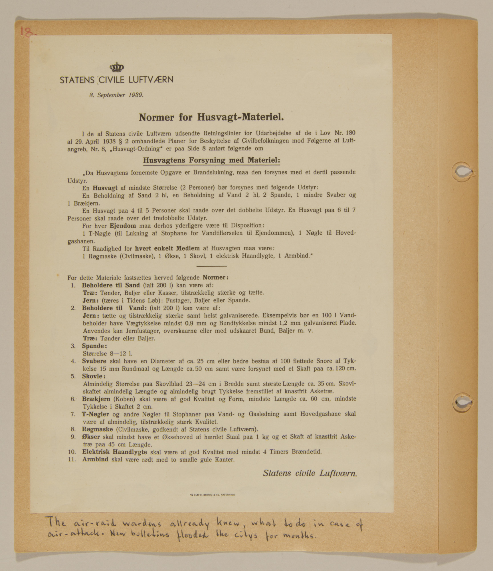 Page from volume one of a set of scrapbooks compiled by Bjorn Sibbern, a Danish policeman and resistance member, documenting the German occupation of Denmark.  This page contains a bulletin about black-out regulations.