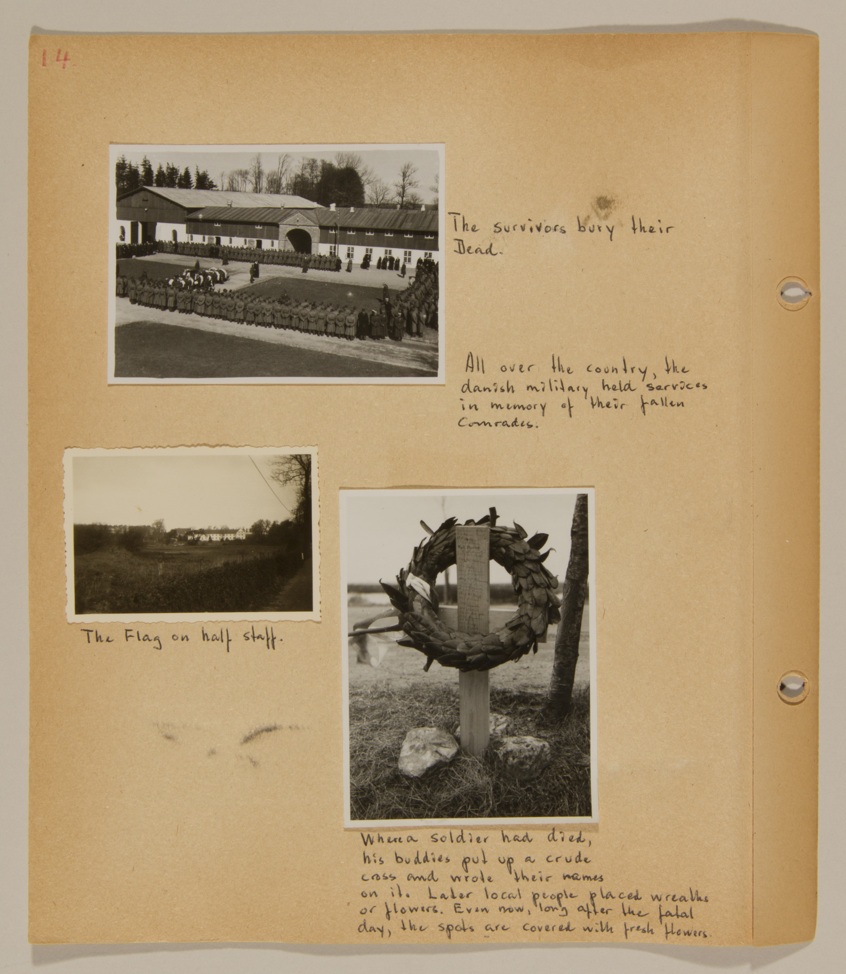Page from volume one of a set of scrapbooks compiled by Bjorn Sibbern, a Danish policeman and resistance member, documenting the German occupation of Denmark.  This page shows photos of graves and memorials to those killed in the German invasion.