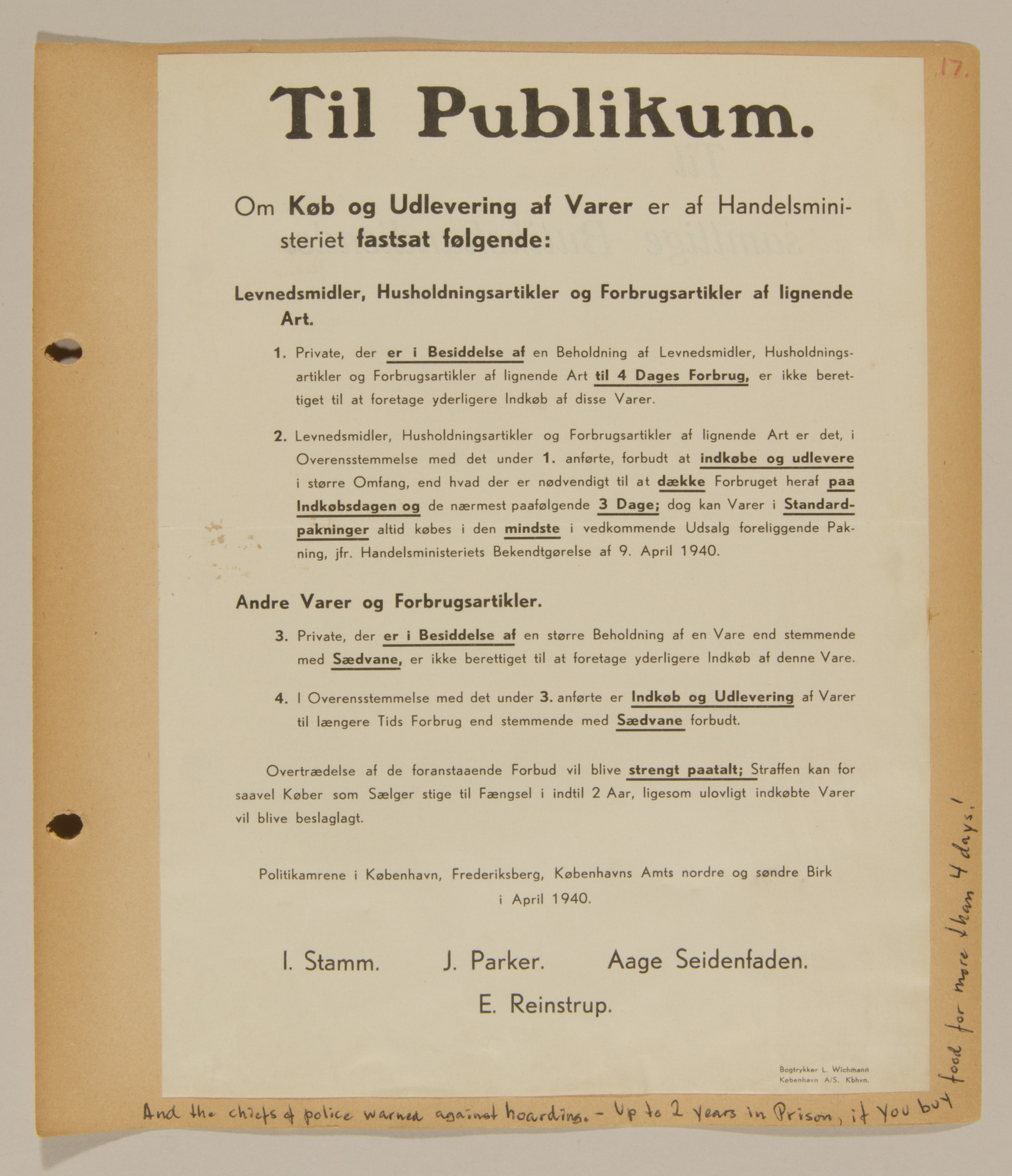 Page from volume one of a set of scrapbooks compiled by Bjorn Sibbern, a Danish policeman and resistance member, documenting the German occupation of Denmark.  This page contains a letter by the chiefs of police warning against hoarding.