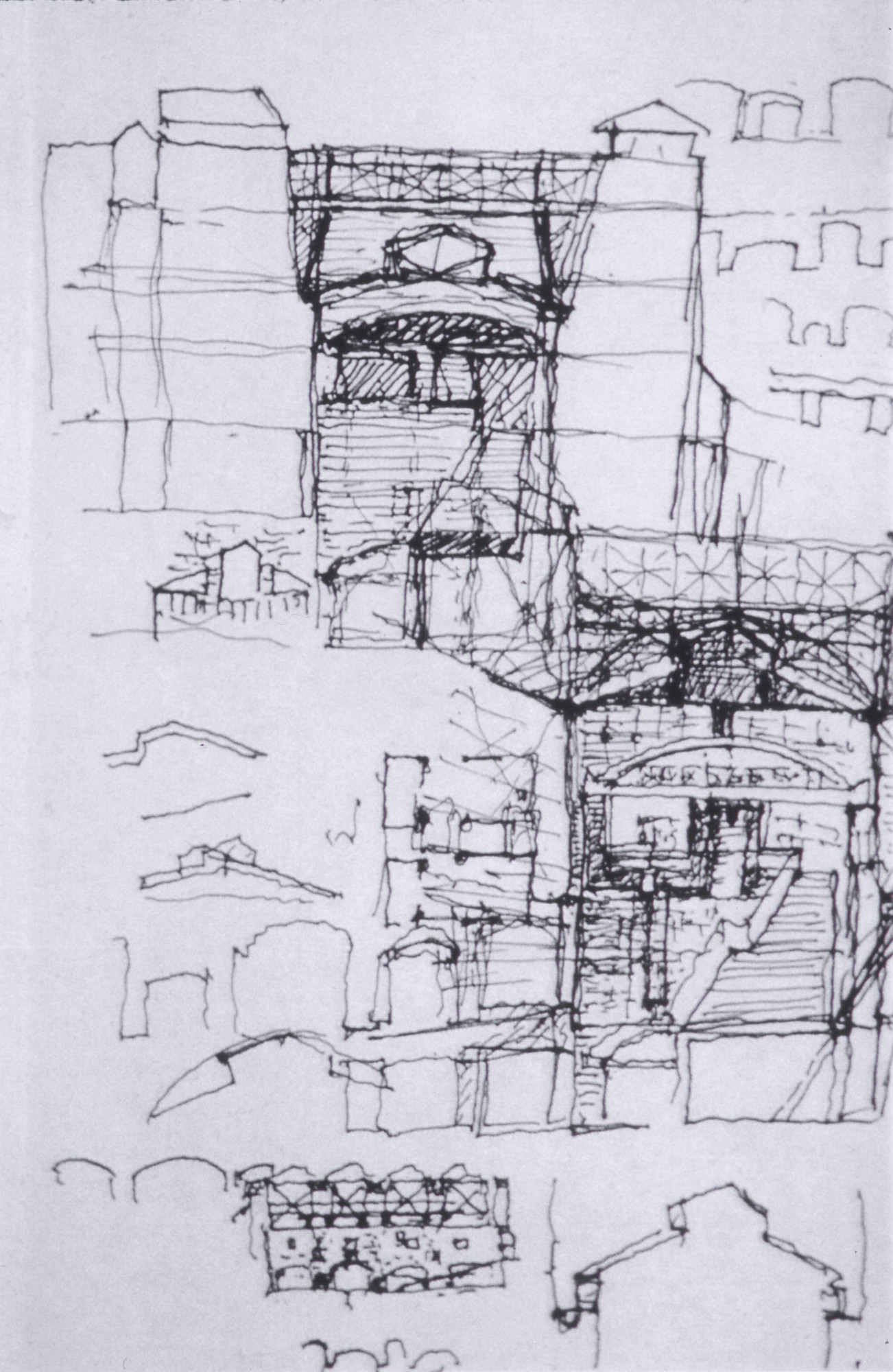 Sketch for the U.S. Holocaust Memorial Museum building by the museum's architect, James Ingo Freed.