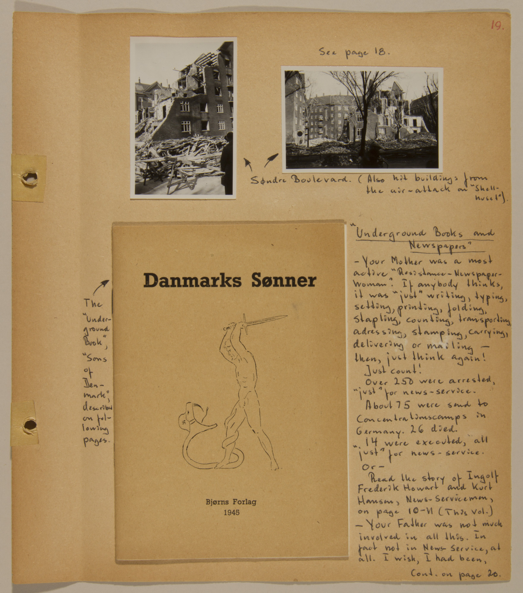 Page from volume five of a set of scrapbooks compiled by Bjorn Sibbern, a Danish policeman and resistance member, documenting the German occupation of Denmark.  This page contains an underground pamphlet that Tove Sibbern helped create and distribute.