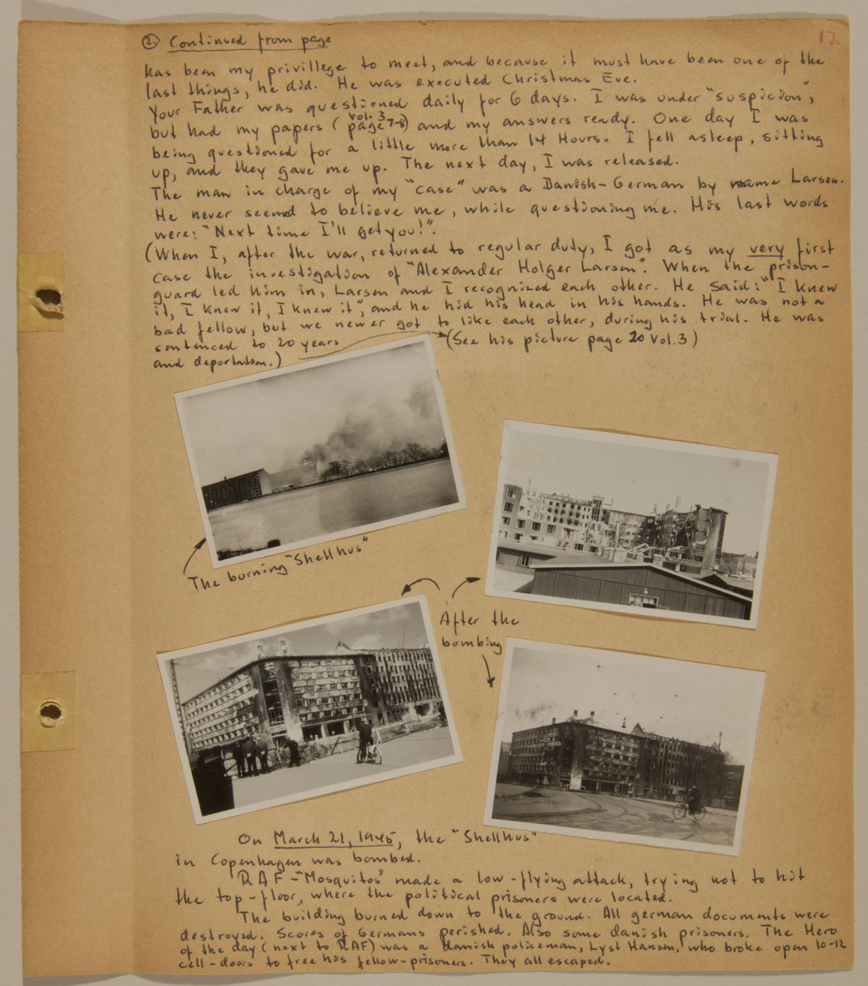 Page from volume five of a set of scrapbooks compiled by Bjorn Sibbern, a Danish policeman and resistance member, documenting the German occupation of Denmark.  Thsi page conains photographs of bomb damage.