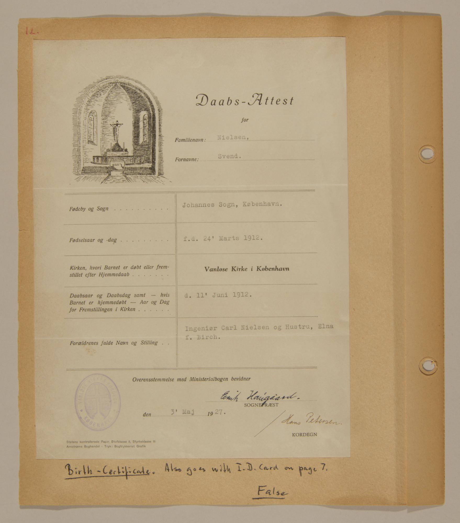 Page from volume three of a set of scrapbooks compiled by Bjorn Sibbern, a Danish policeman and resistance member, documenting the German occupation of Denmark.  This page contains Bjorn Sibbern's (aka Svend Nieslsen's) false birth and baptismal certificate.