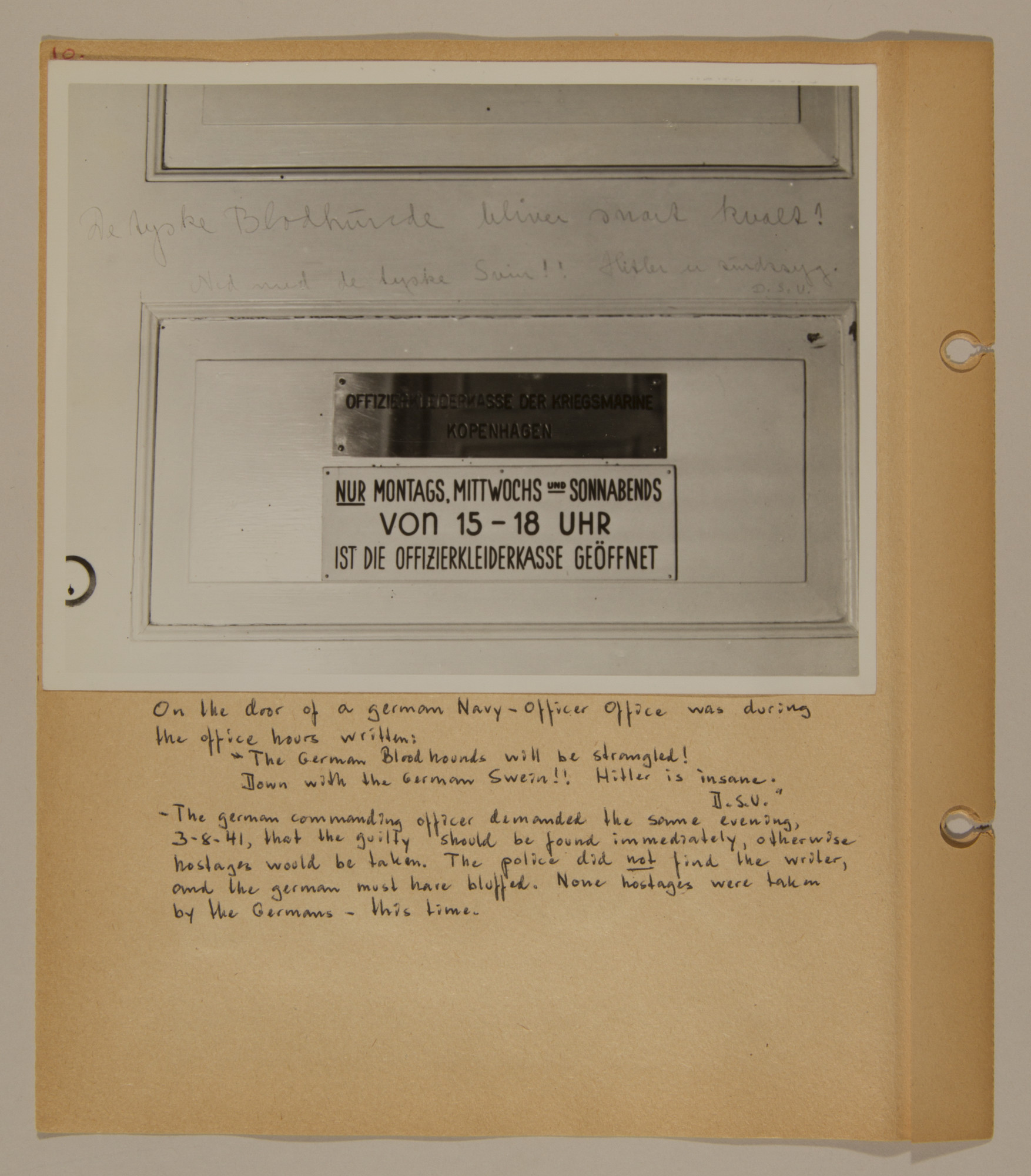 Page from volume two of a set of scrapbooks compiled by Bjorn Sibbern, a Danish policeman and resistance member, documenting the German occupation of Denmark.  This page shows graffiti written on the door of the Geramn naval office.