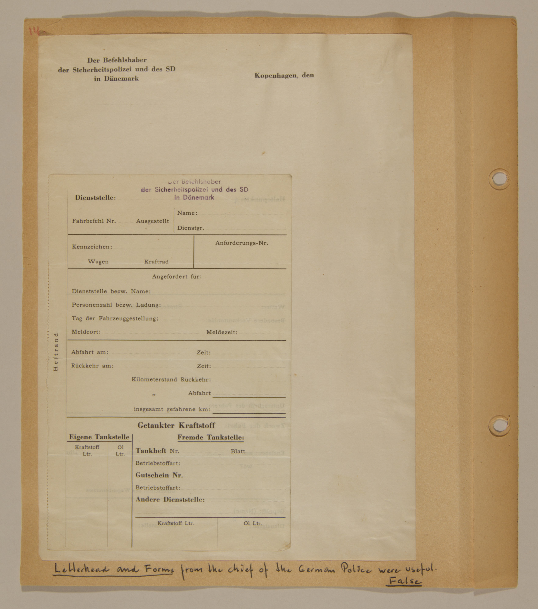 Page from volume three of a set of scrapbooks compiled by Bjorn Sibbern, a Danish policeman and resistance member, documenting the German occupation of Denmark.  This page contains false letterhead and forms from the chief of the German police.