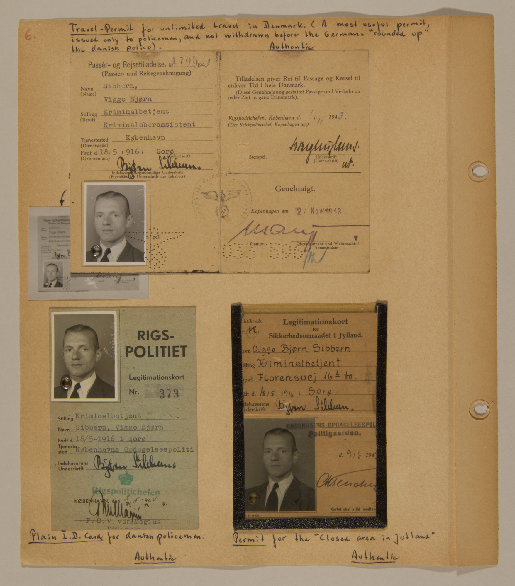 Page from volume three of a set of scrapbooks compiled by Bjorn Sibbern, a Danish policeman and resistance member, documenting the German occupation of Denmark.  This page contains Bjorn Sibbern's authentic identification cards.