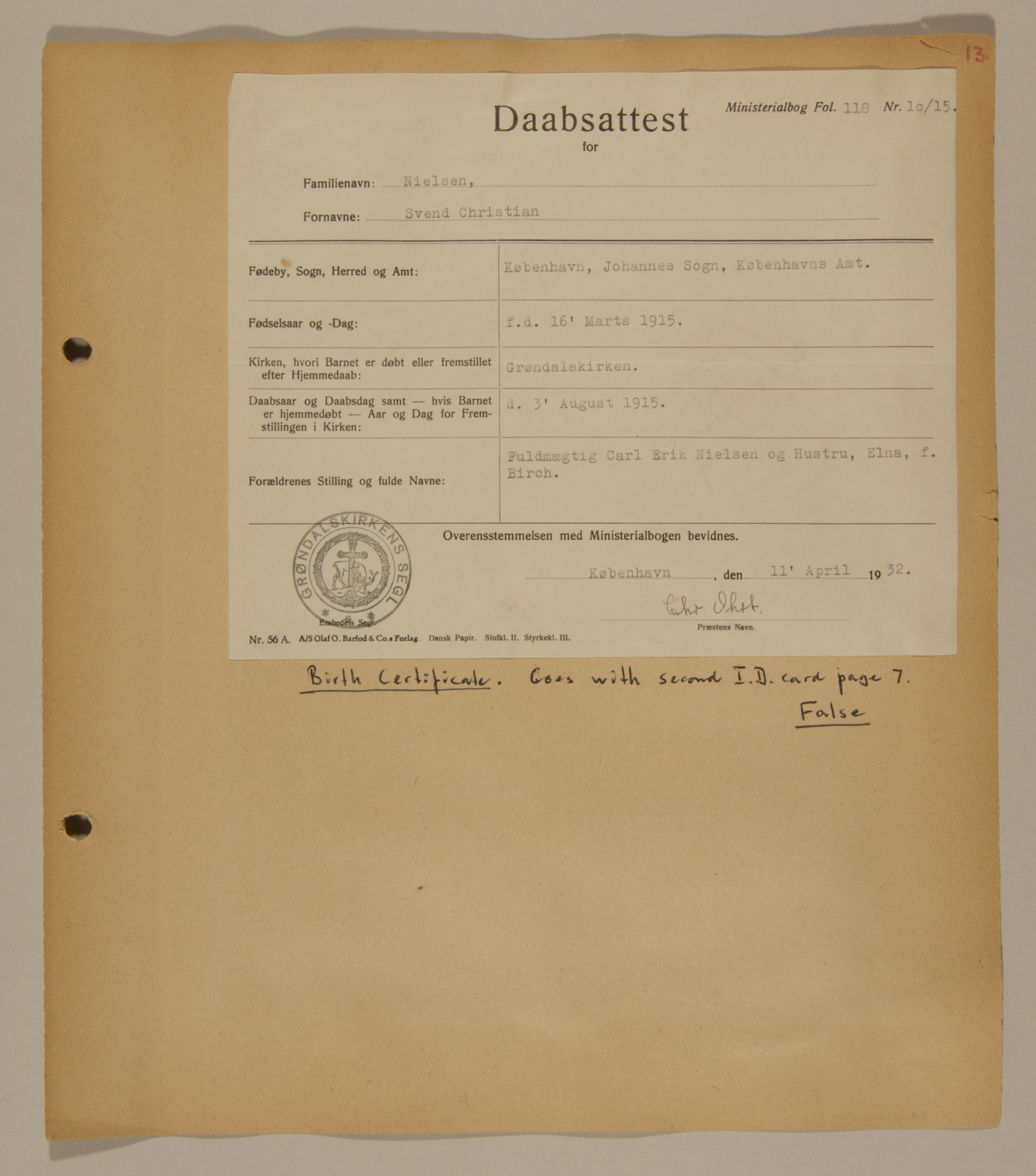 Page from volume three of a set of scrapbooks compiled by Bjorn Sibbern, a Danish policeman and resistance member, documenting the German occupation of Denmark.  This page contains Bjorn Sibbern's (aka Svend Nieslsen's) false birth certificate.