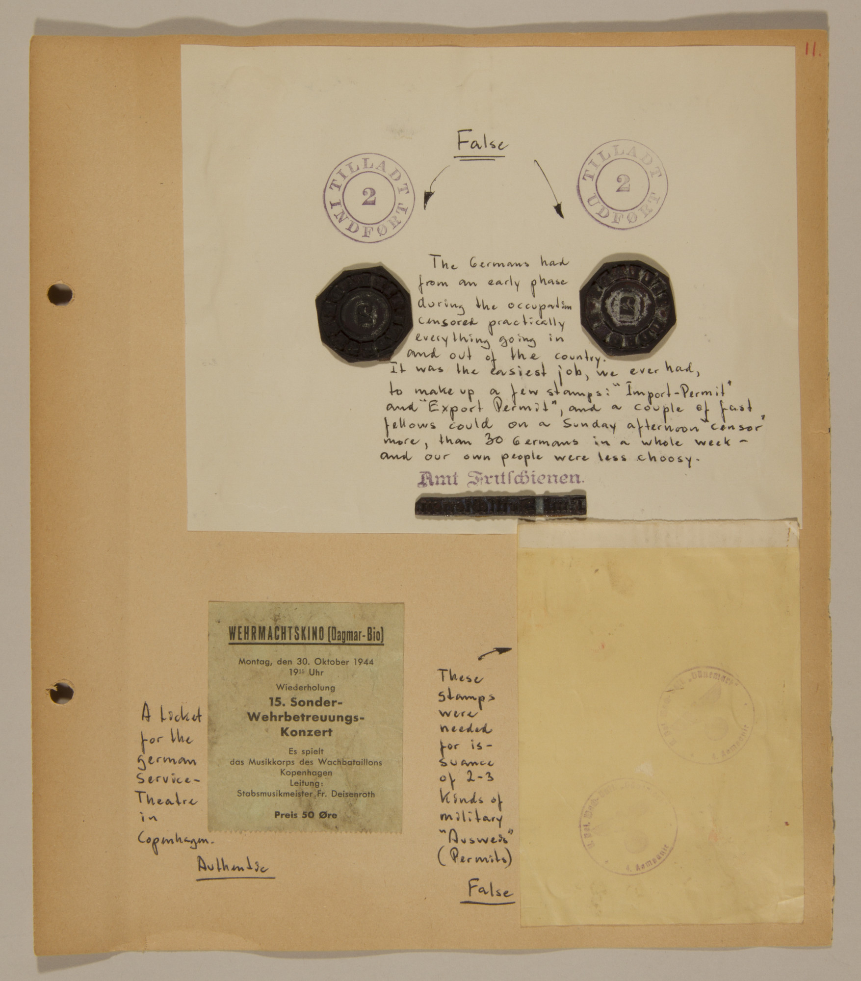 Page from volume three of a set of scrapbooks compiled by Bjorn Sibbern, a Danish policeman and resistance member, documenting the German occupation of Denmark.  This page contains forgery stamps for the creation of false documents.