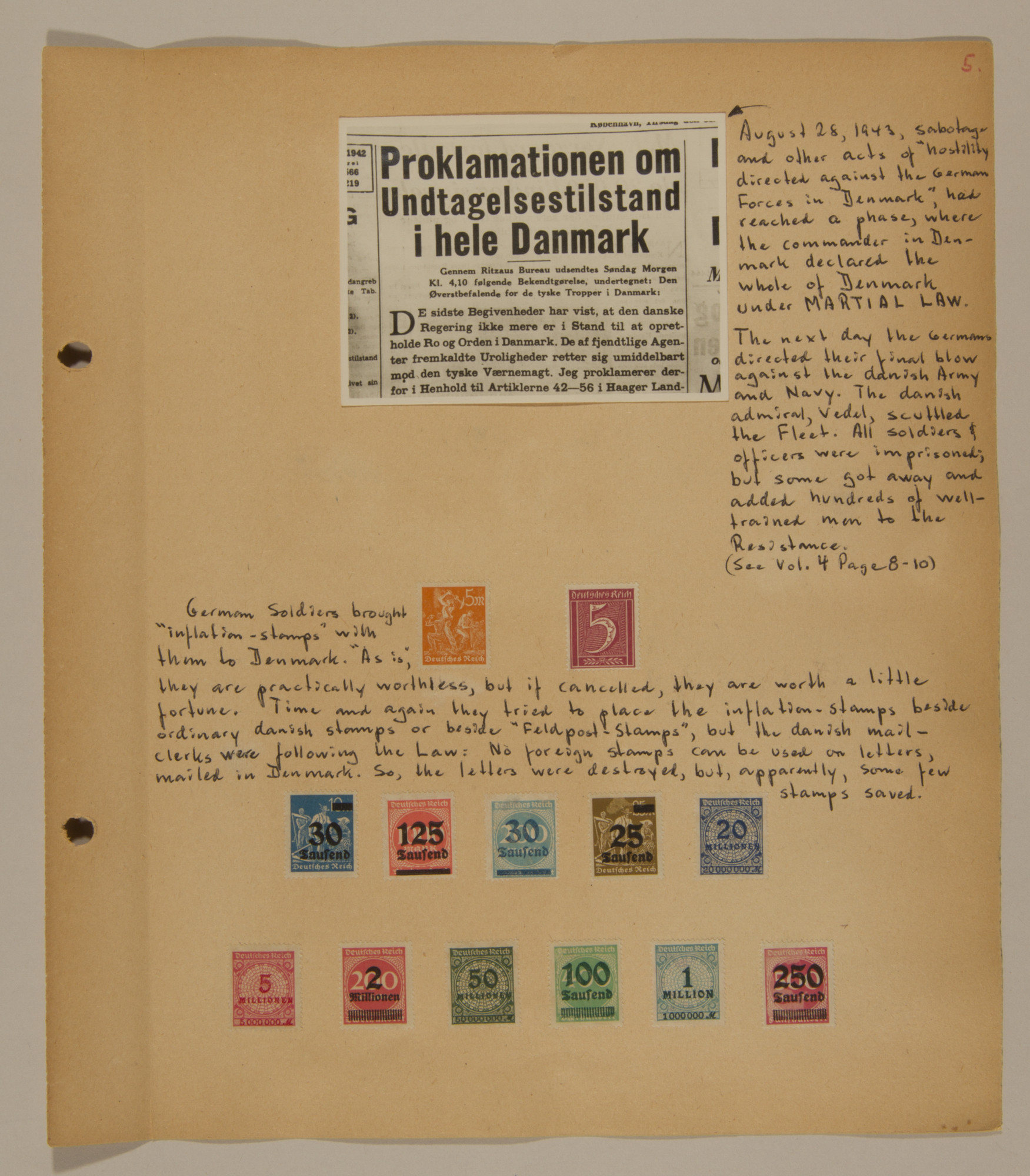 Page from volume three of a set of scrapbooks compiled by Bjorn Sibbern, a Danish policeman and resistance member, documenting the German occupation of Denmark.  This page contains German inflation stamps.