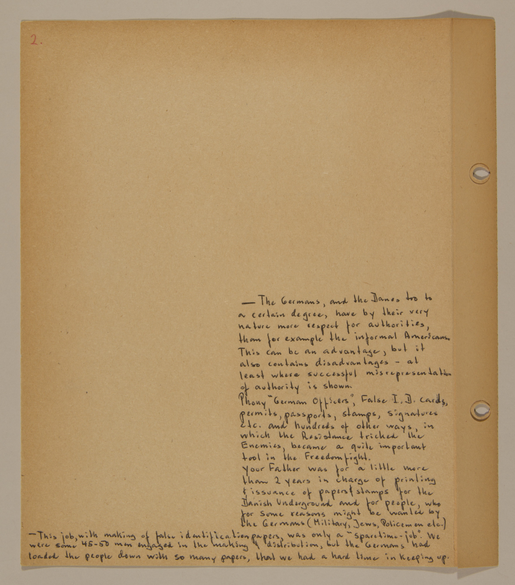 Page from volume three of a set of scrapbooks compiled by Bjorn Sibbern, a Danish policeman and resistance member, documenting the German occupation of Denmark.  This page has text about the creation of false identification documents.