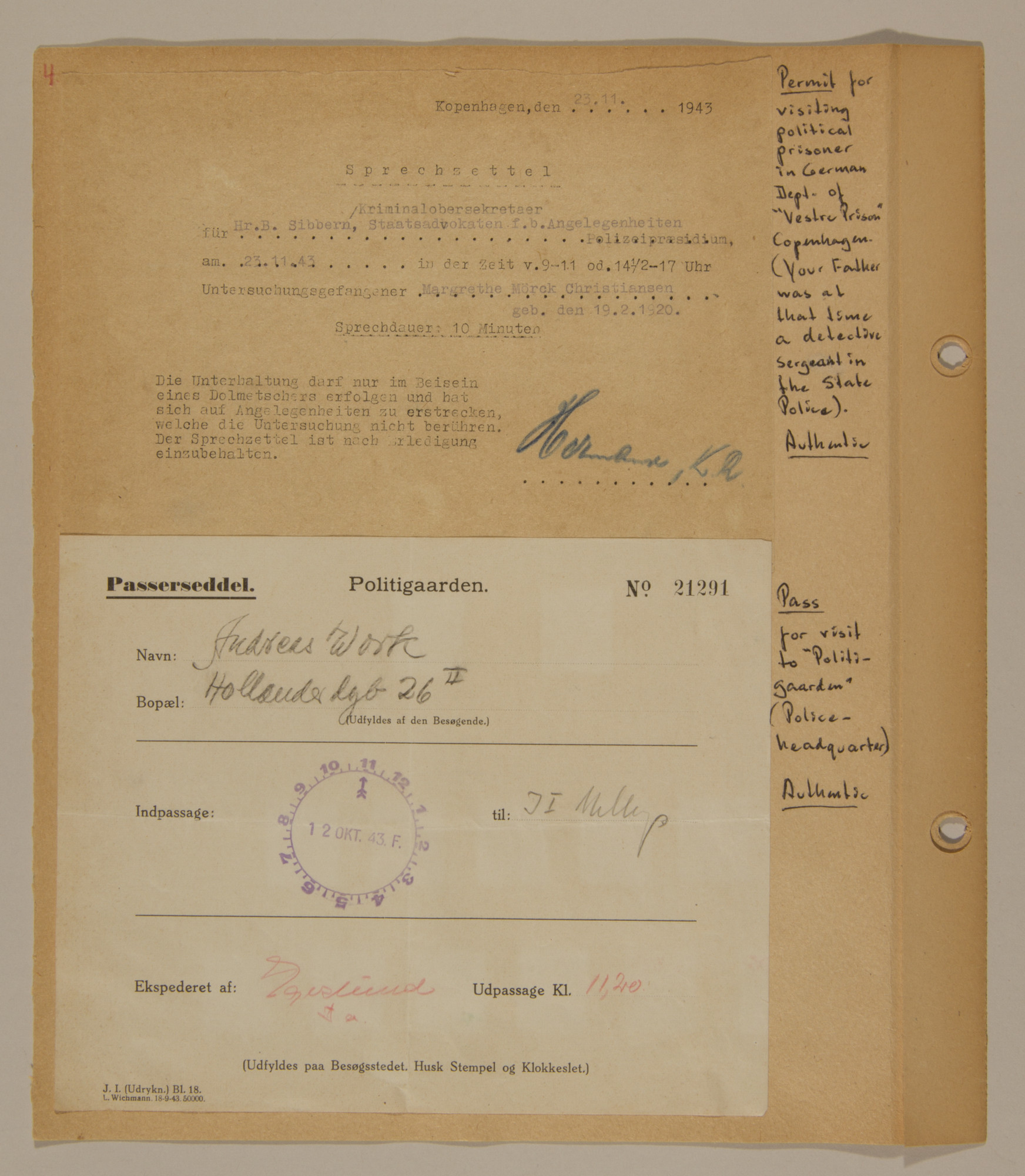 Page from volume three of a set of scrapbooks compiled by Bjorn Sibbern, a Danish policeman and resistance member, documenting the German occupation of Denmark.  This page contains examples of authentic permits and passes.