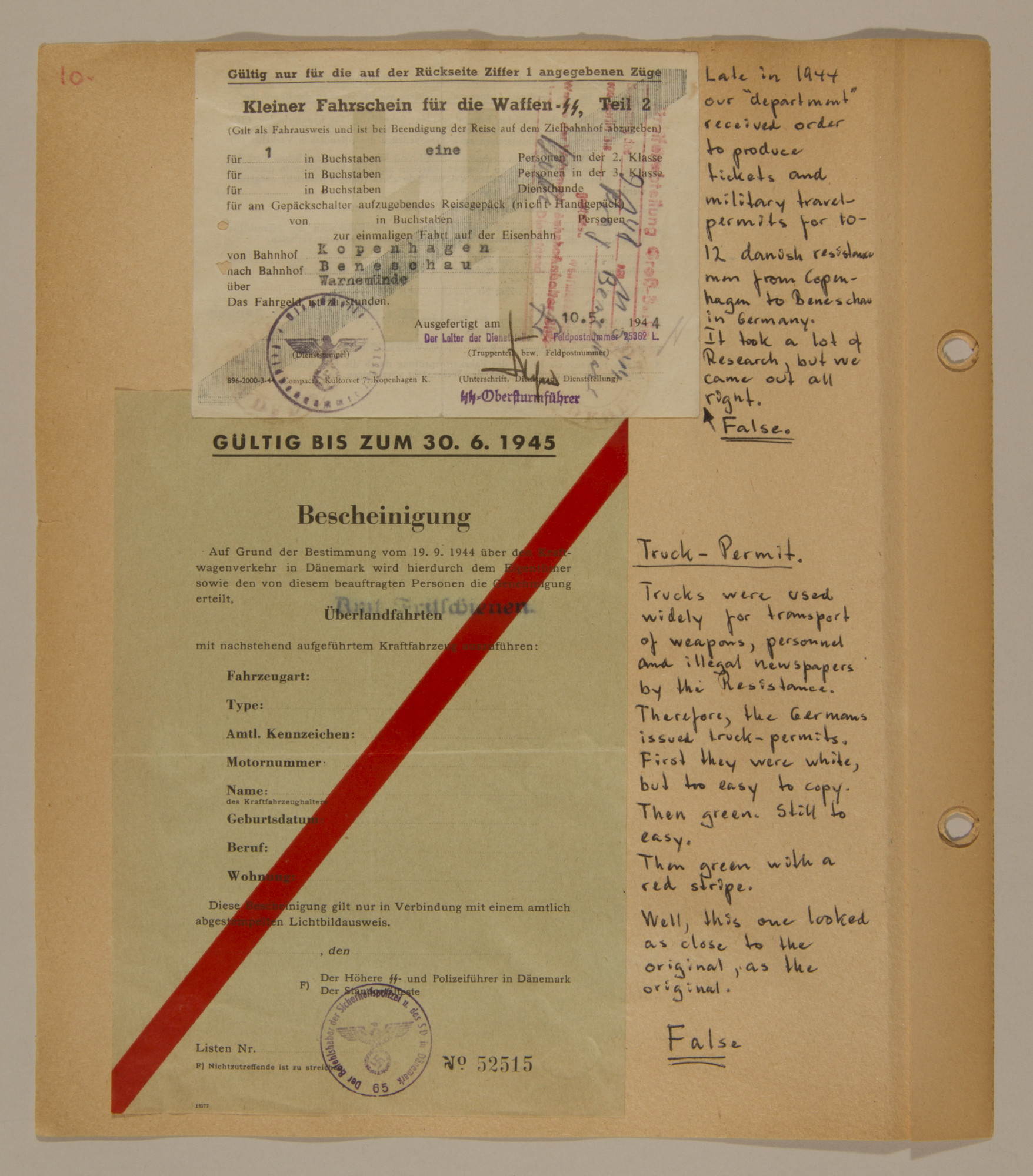 Page from volume three of a set of scrapbooks compiled by Bjorn Sibbern, a Danish policeman and resistance member, documenting the German occupation of Denmark.  This page contains Bjorn Sibbern's (aka Svend Nieslsen's) false permits for using a truck and traveling for military purposes.