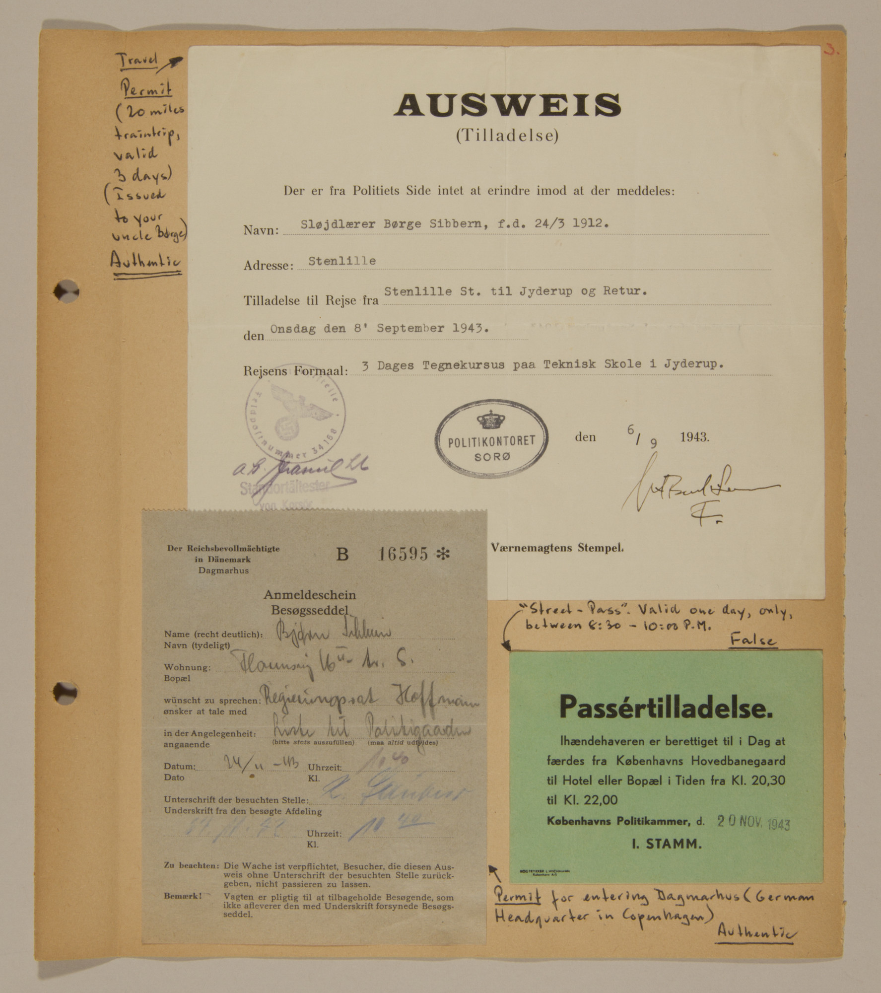 Page from volume three of a set of scrapbooks compiled by Bjorn Sibbern, a Danish policeman and resistance member, documenting the German occupation of Denmark.  This page contains both authentic and false permits and passes.