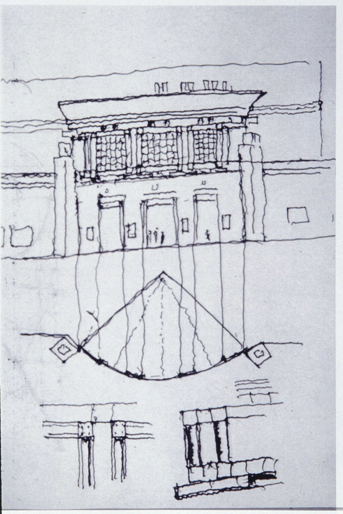 Sketch of the U.S. Holocaust Memorial Museum building by the museum's architect, James Ingo Freed.