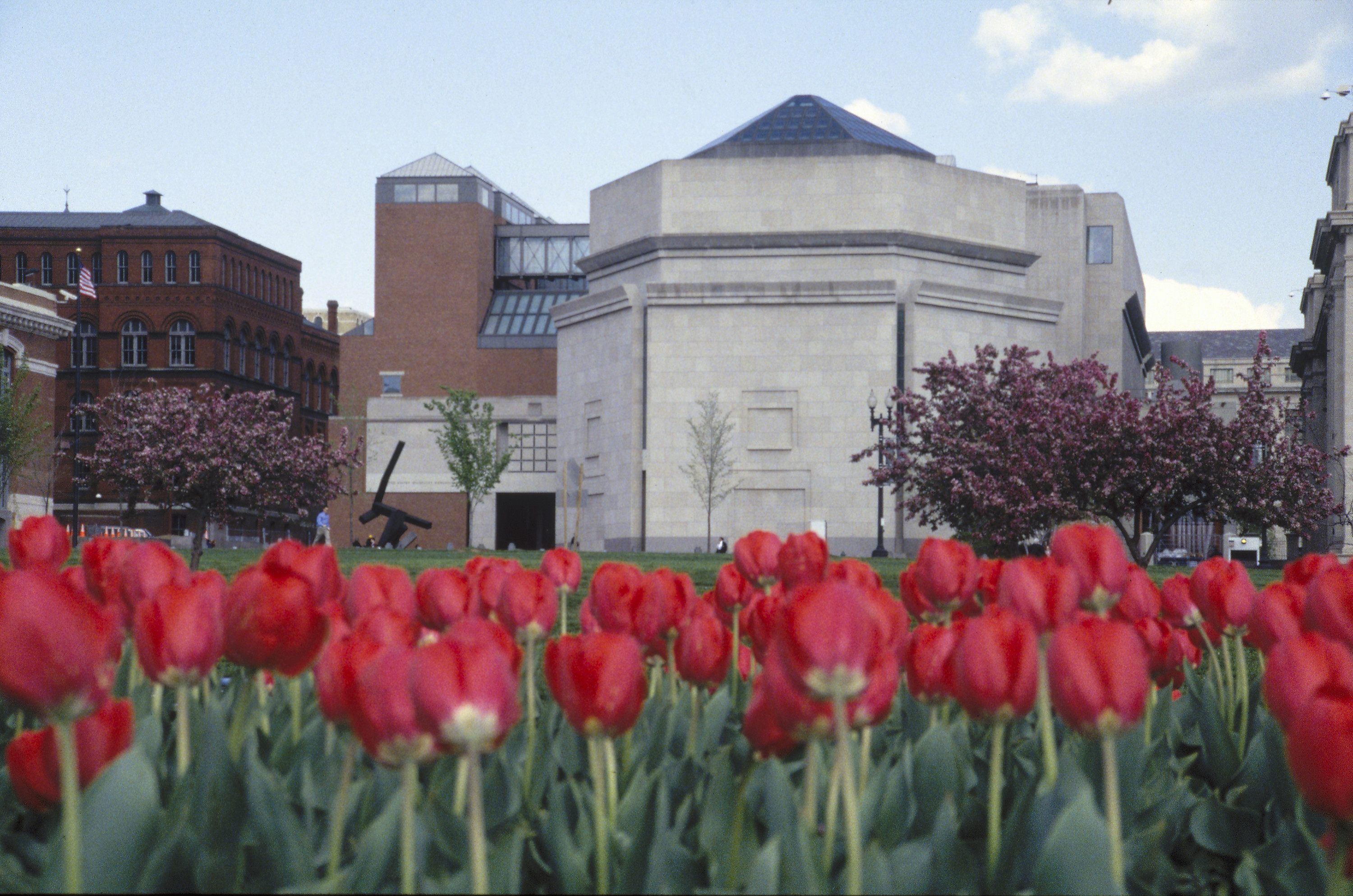 View of the U.S. Holocaust Memorial Museum from a tulip garden across 15th Street.