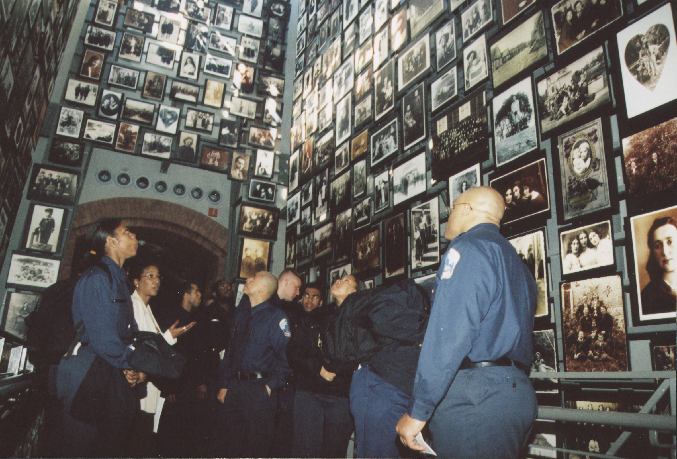 DC police training squad visits the U.S. Holocaust Memorial Museum.  Officers view the Tower of Faces (the Yaffa Eliach Shtetl Collection) in the Permanent Exhibition.