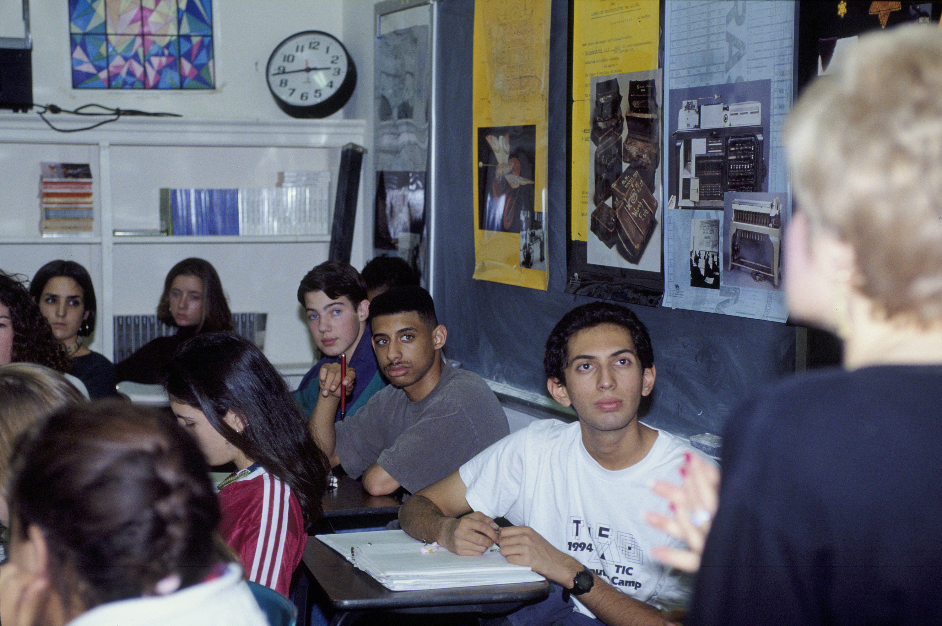 A Holocaust education class at the Maret School, an independent college preparatory day school in Washington, DC, makes use of a poster series produced by the US Holocaust Memorial Museum.