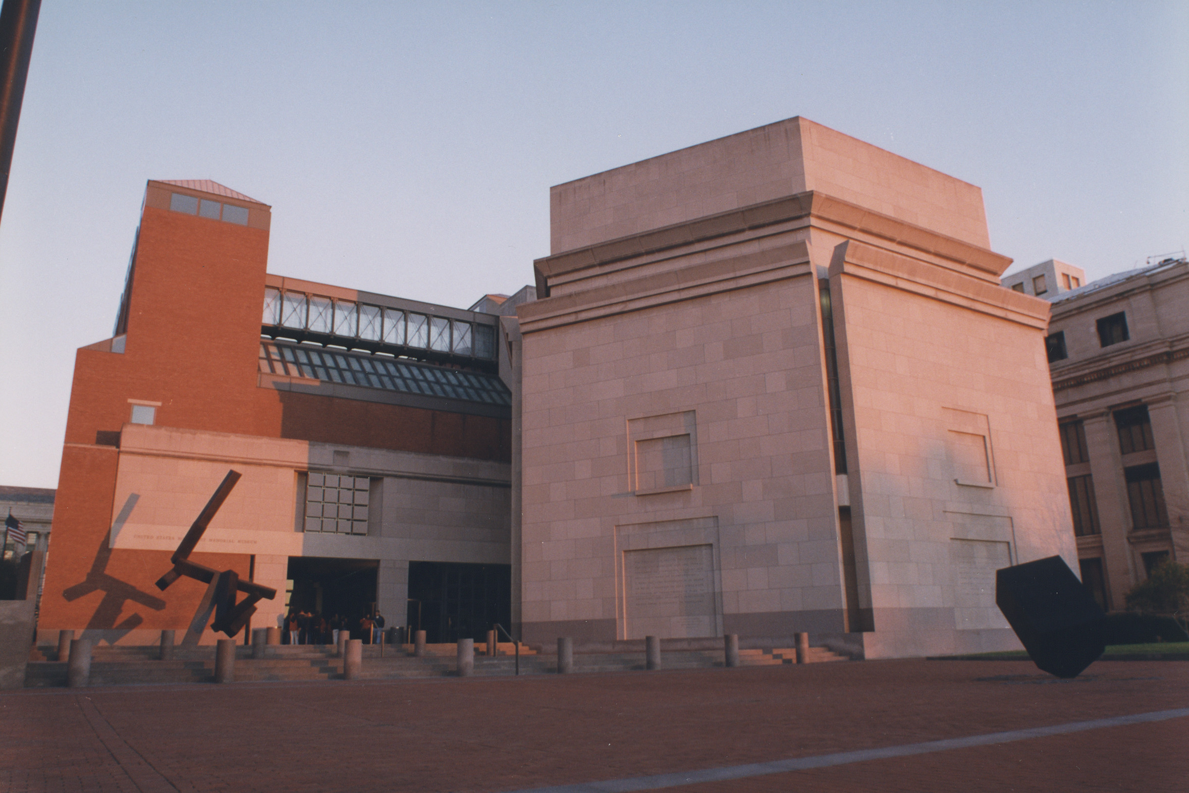 View of the 15th Street entrance to the U.S. Holocaust Memorial Museum.
