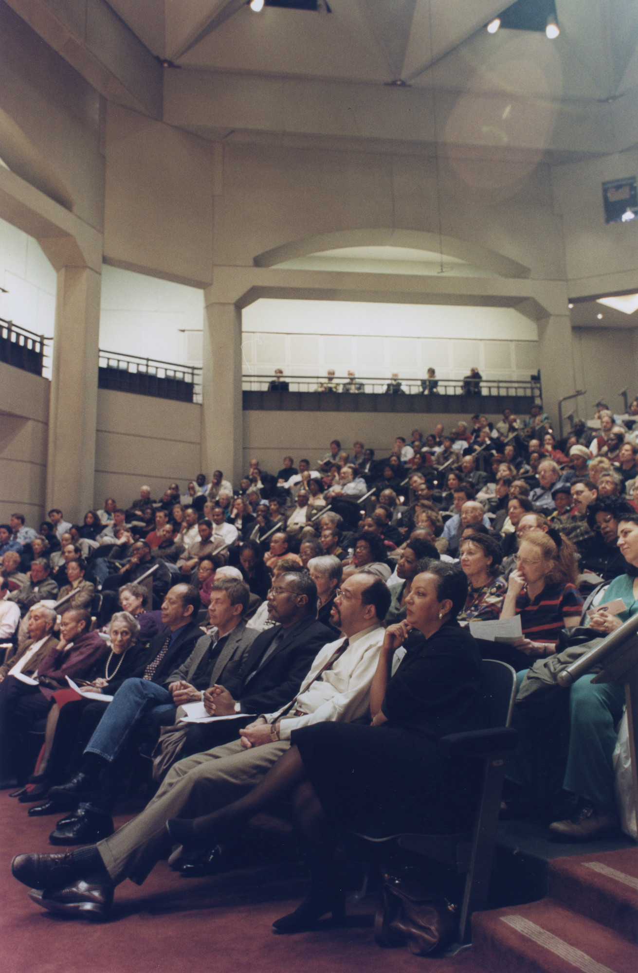 "View of the audience at the ""Evening with Hans J. Massaquoi"" program at the U.S. Holocaust Memorial Museum.  The interview, conducted by Oral History Director Joan Ringelheim, is a public program of the U.S. Holocaust Memorial Museum."