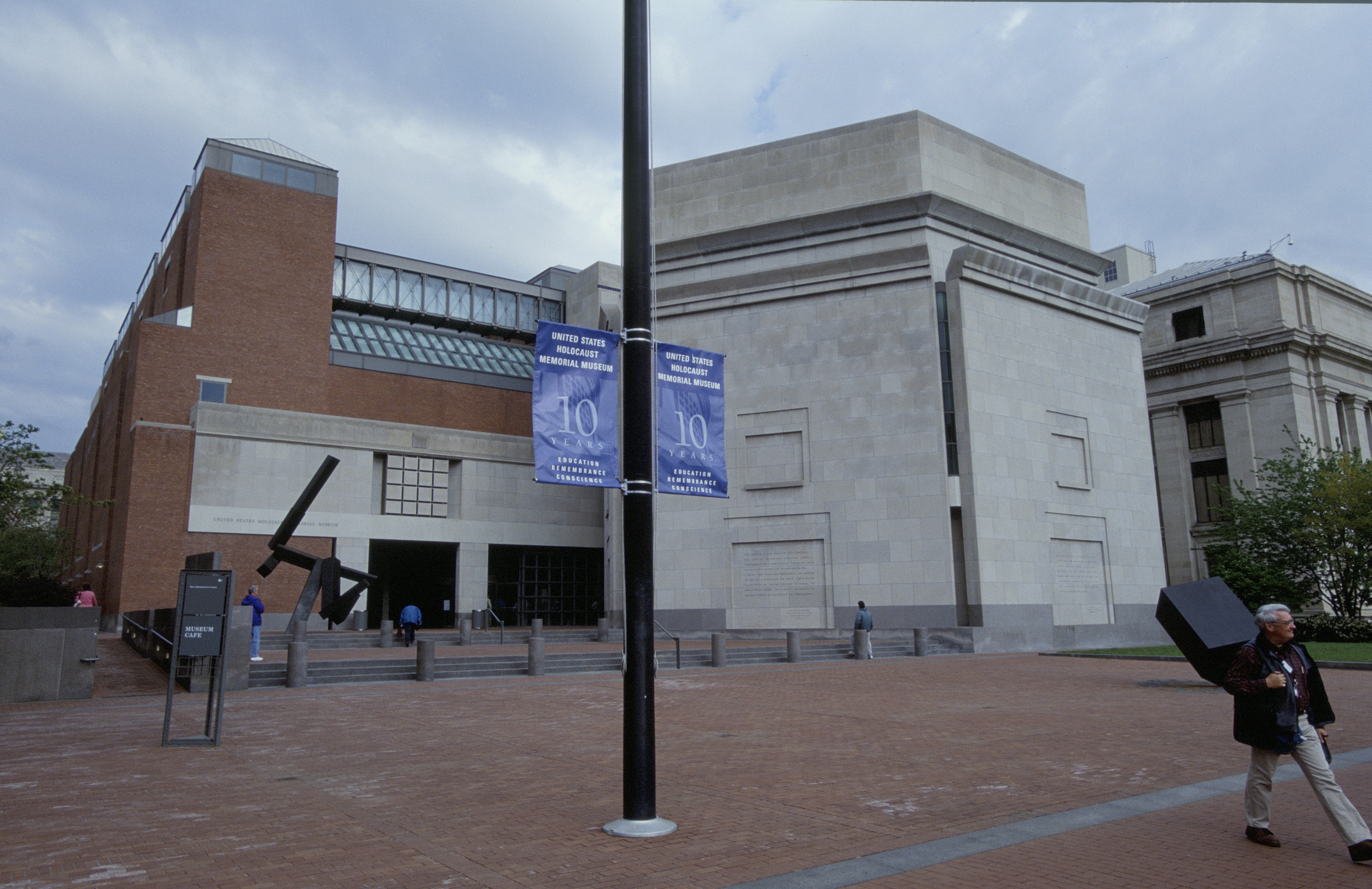 View of Eisenhower Plaza decorated with 10th anniversary banners on the flag pole at the United States Holocaust Memorial Museum on the day of its10th anniversary.