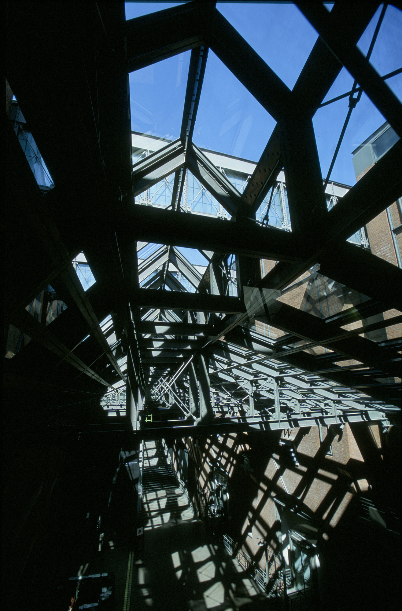 A detail of the roof structure of the Hall of Witness at the U.S. Holocaust Memorial Museum.