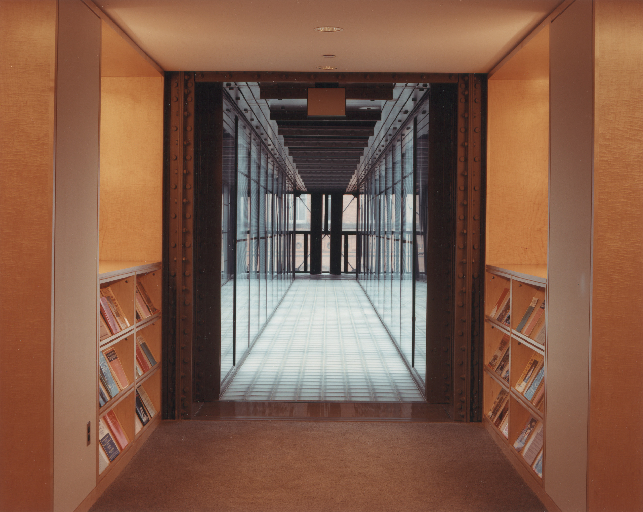 View of the bridge on the fifth floor of the U.S. Holocaust Memorial Museum leading from the Museum library to the Tower Rooms.