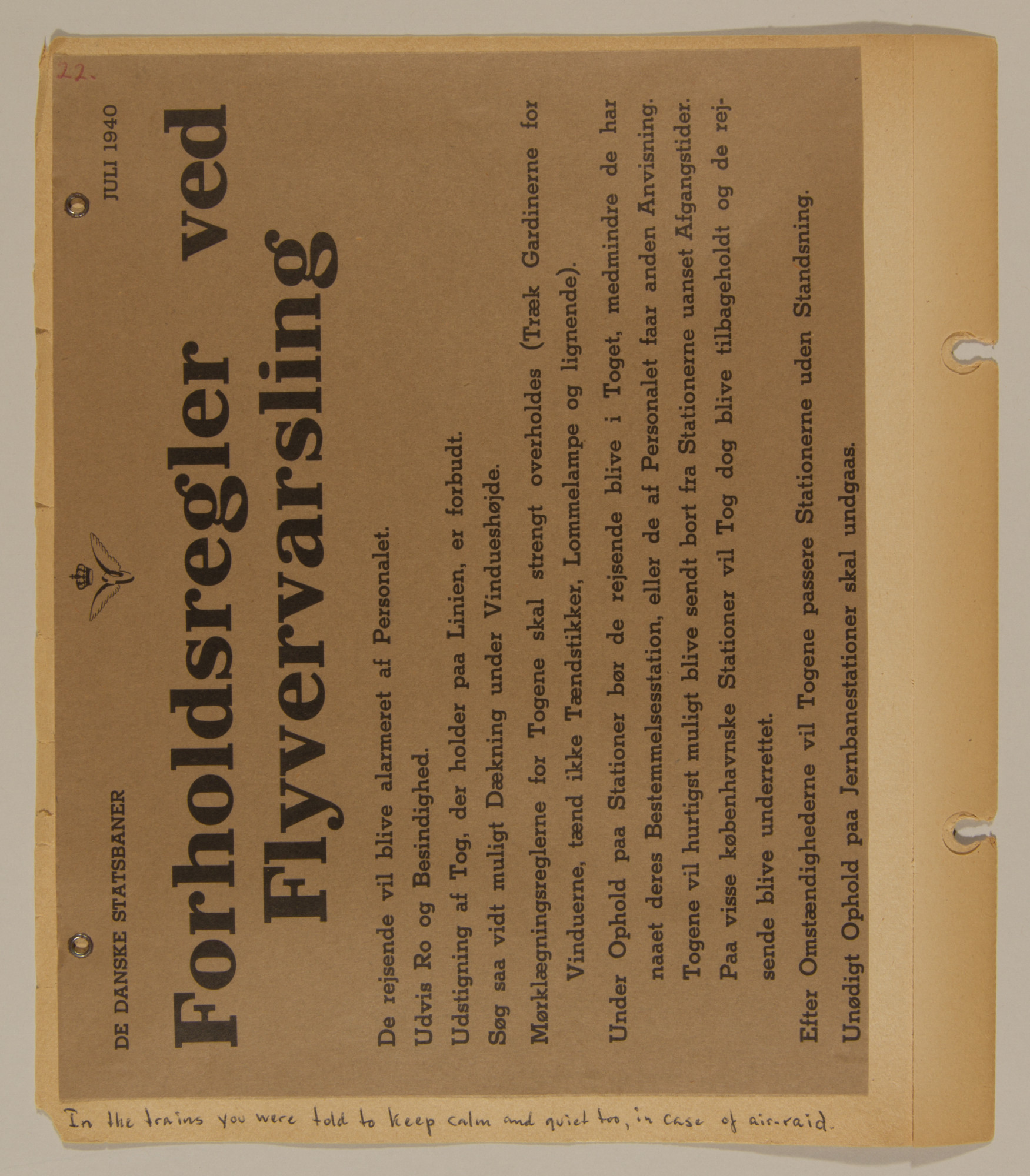 Page from volume one of a set of scrapbooks compiled by Bjorn Sibbern, a Danish policeman and resistance member, documenting the German occupation of Denmark.  This page contains a bulletin about what to do in case of an air-raid.