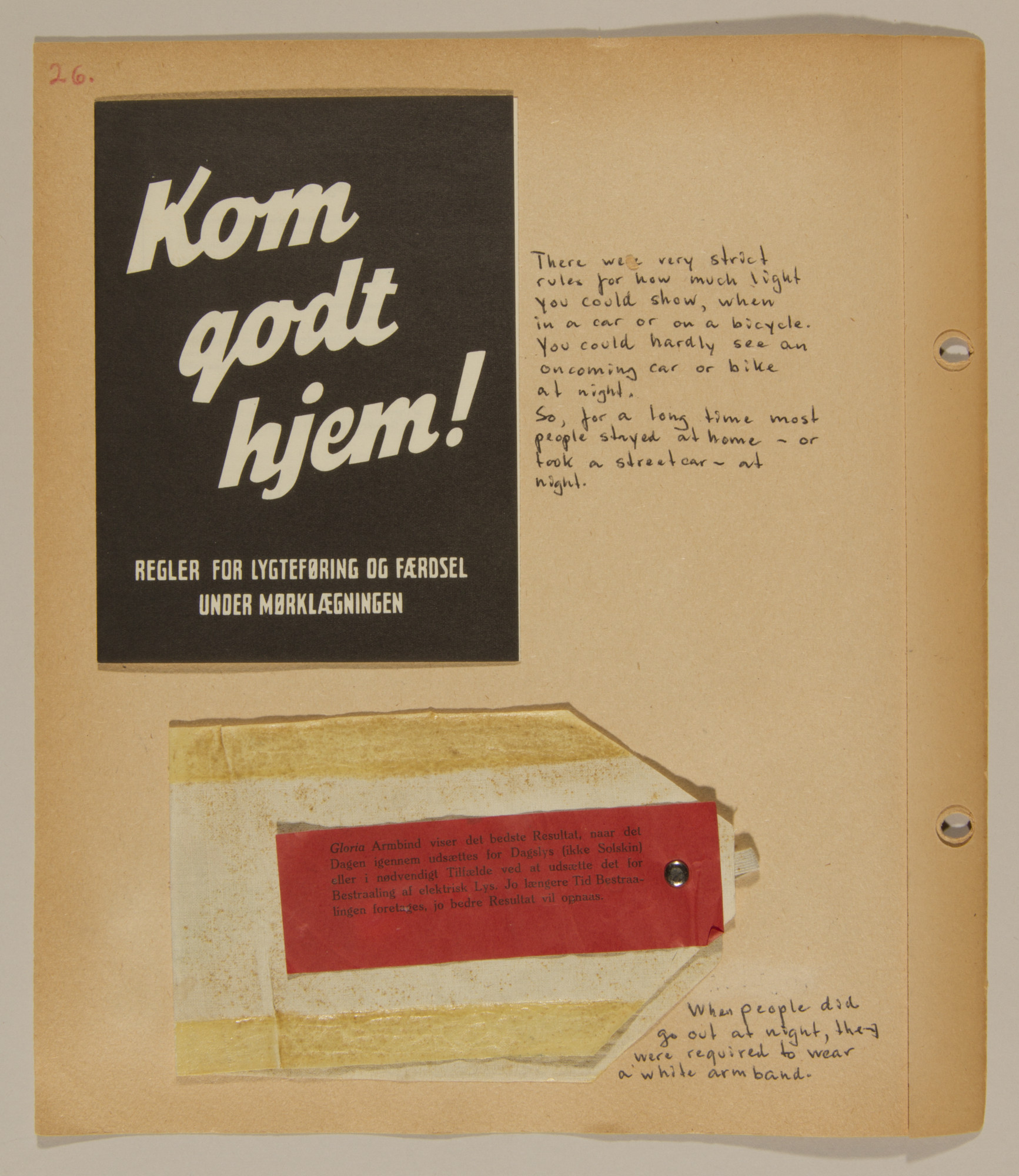 Page from volume one of a set of scrapbooks compiled by Bjorn Sibbern, a Danish policeman and resistance member, documenting the German occupation of Denmark.  This page contains an armband allowing someone to go out after curfew.