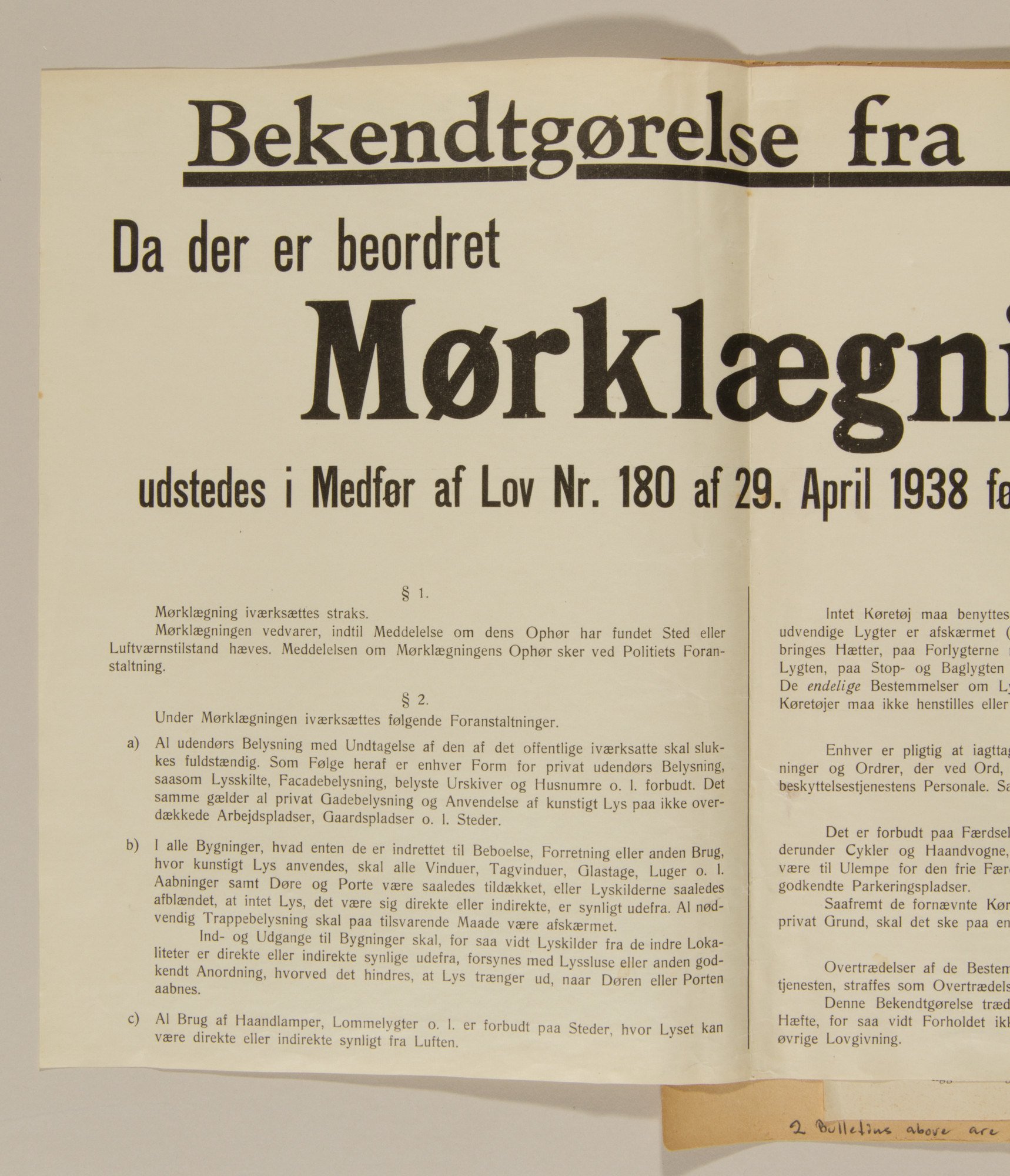 Page from volume one of a set of scrapbooks compiled by Bjorn Sibbern, a Danish policeman and resistance member, documenting the German occupation of Denmark.