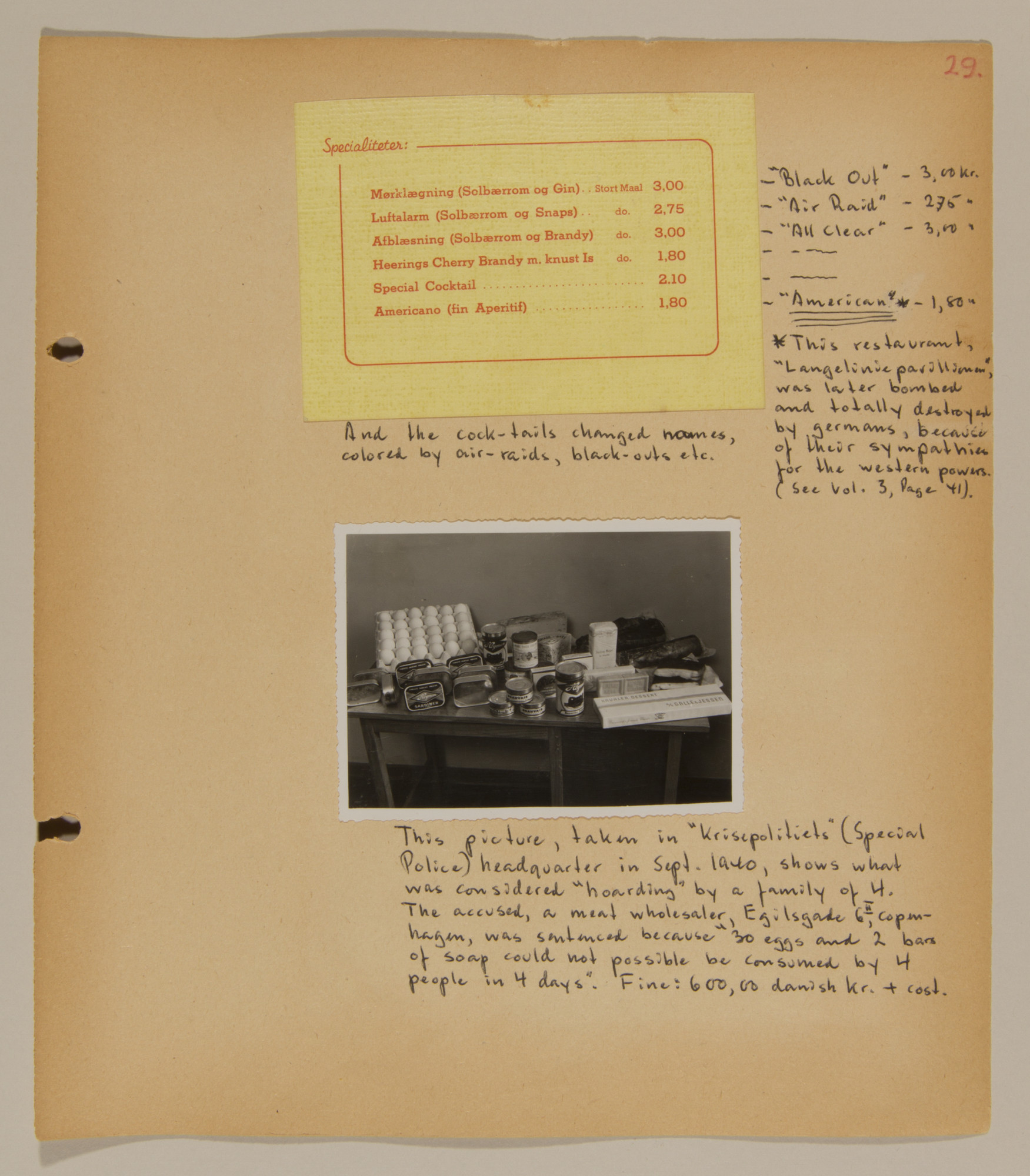 Page from volume one of a set of scrapbooks compiled by Bjorn Sibbern, a Danish policeman and resistance member, documenting the German occupation of Denmark.  This page has a photograph of a display of food hoarding in the police headquarters.