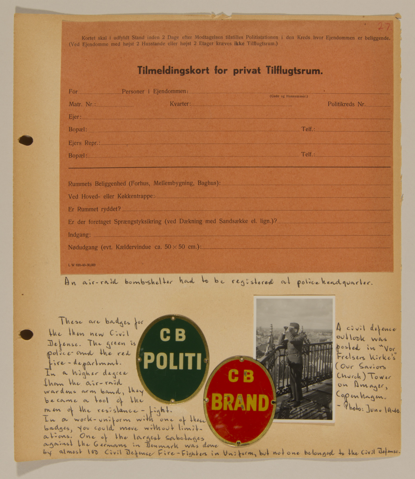 Page from volume one of a set of scrapbooks compiled by Bjorn Sibbern, a Danish policeman and resistance member, documenting the German occupation of Denmark.  This page contains civil defense badges.