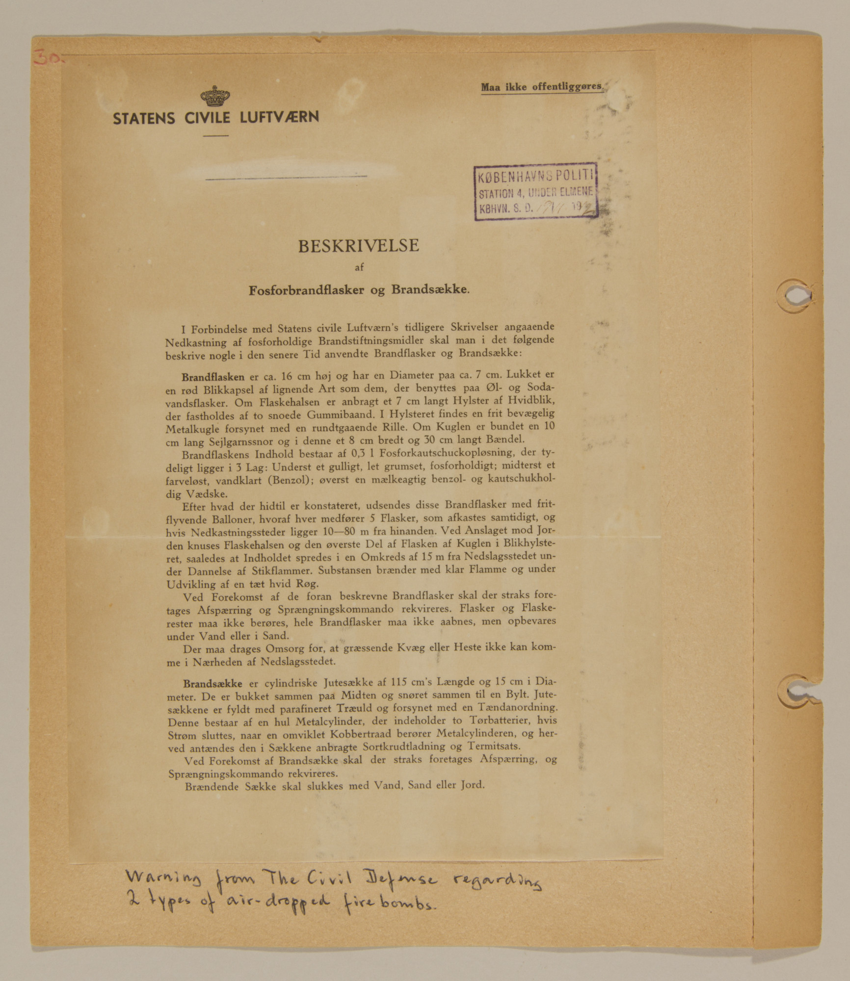 Page from volume one of a set of scrapbooks compiled by Bjorn Sibbern, a Danish policeman and resistance member, documenting the German occupation of Denmark.  This page has a document from the Civil Defense regarding fire-bombs.