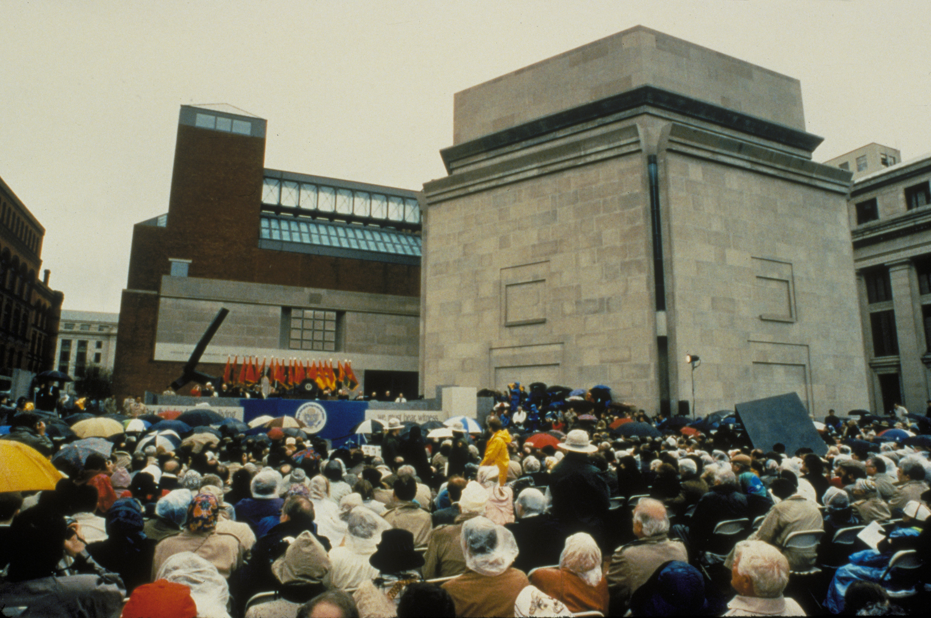A large crowd fills Eisenhower Plaza during the dedication ceremony of the U.S. Holocaust Memorial Museum.
