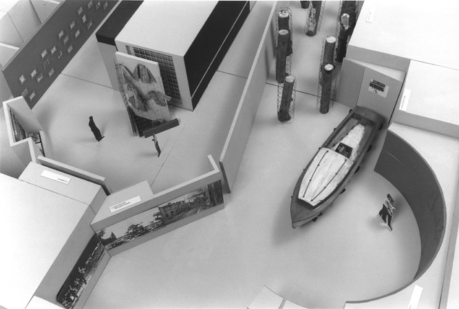 Detail of one of the models of the permanent exhibition at the U.S. Holocaust Memorial Museum, showing a section of the second floor.