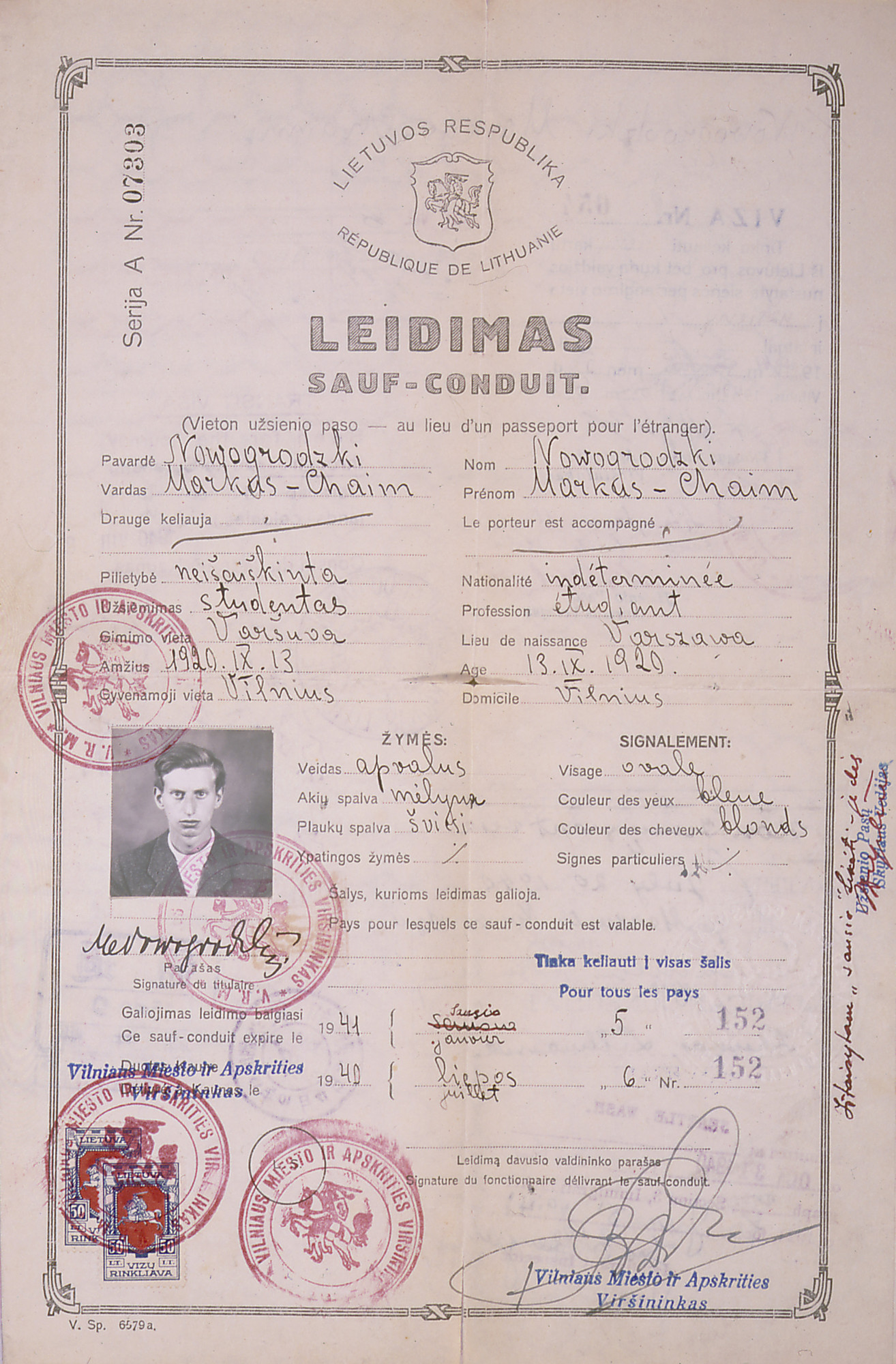 The Lithuanian Safe Conduct Pass issued to Markus