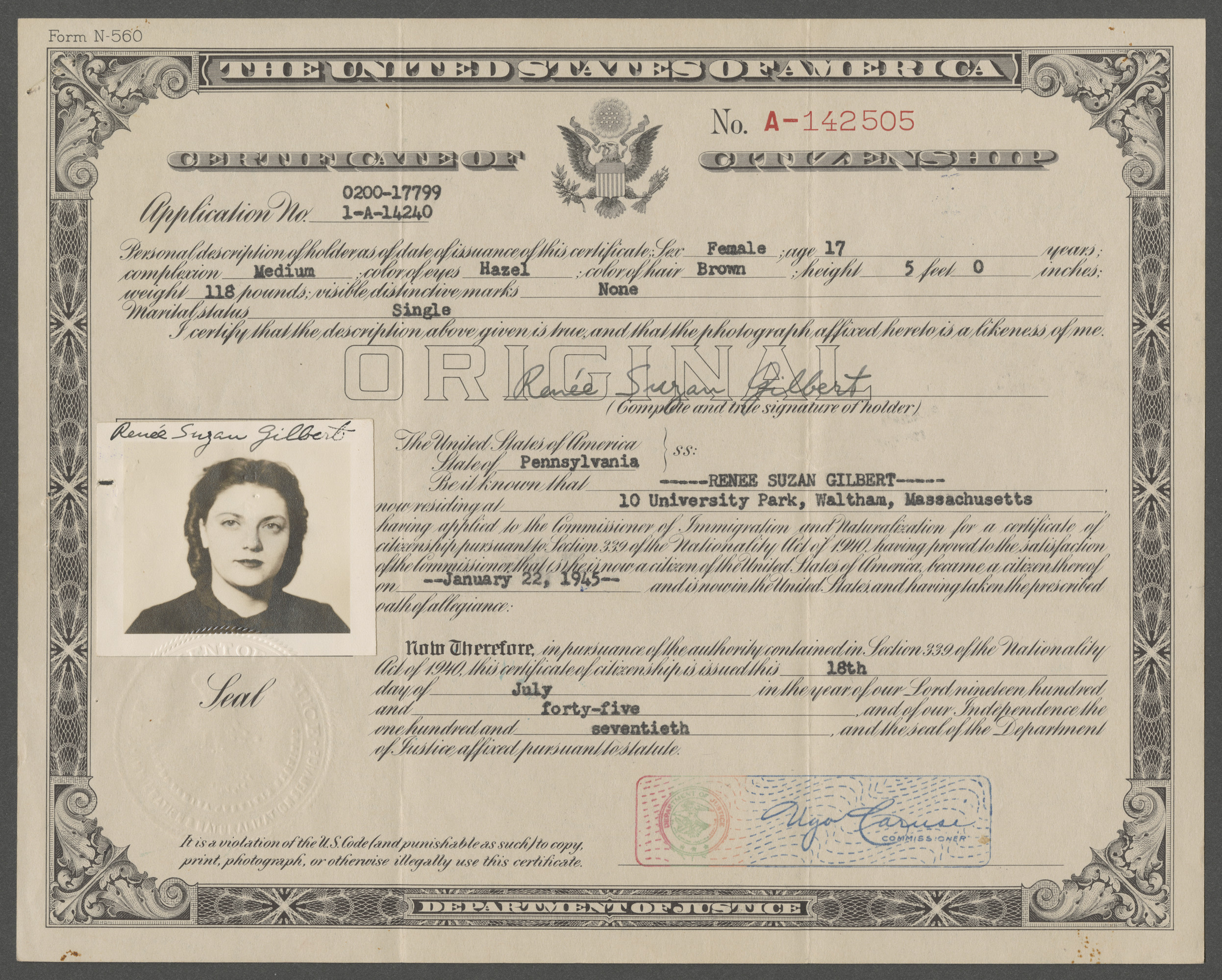 Certificate of U.S. Citizenship issued to Renee Suzan Gilbert (previously Goldschmied).