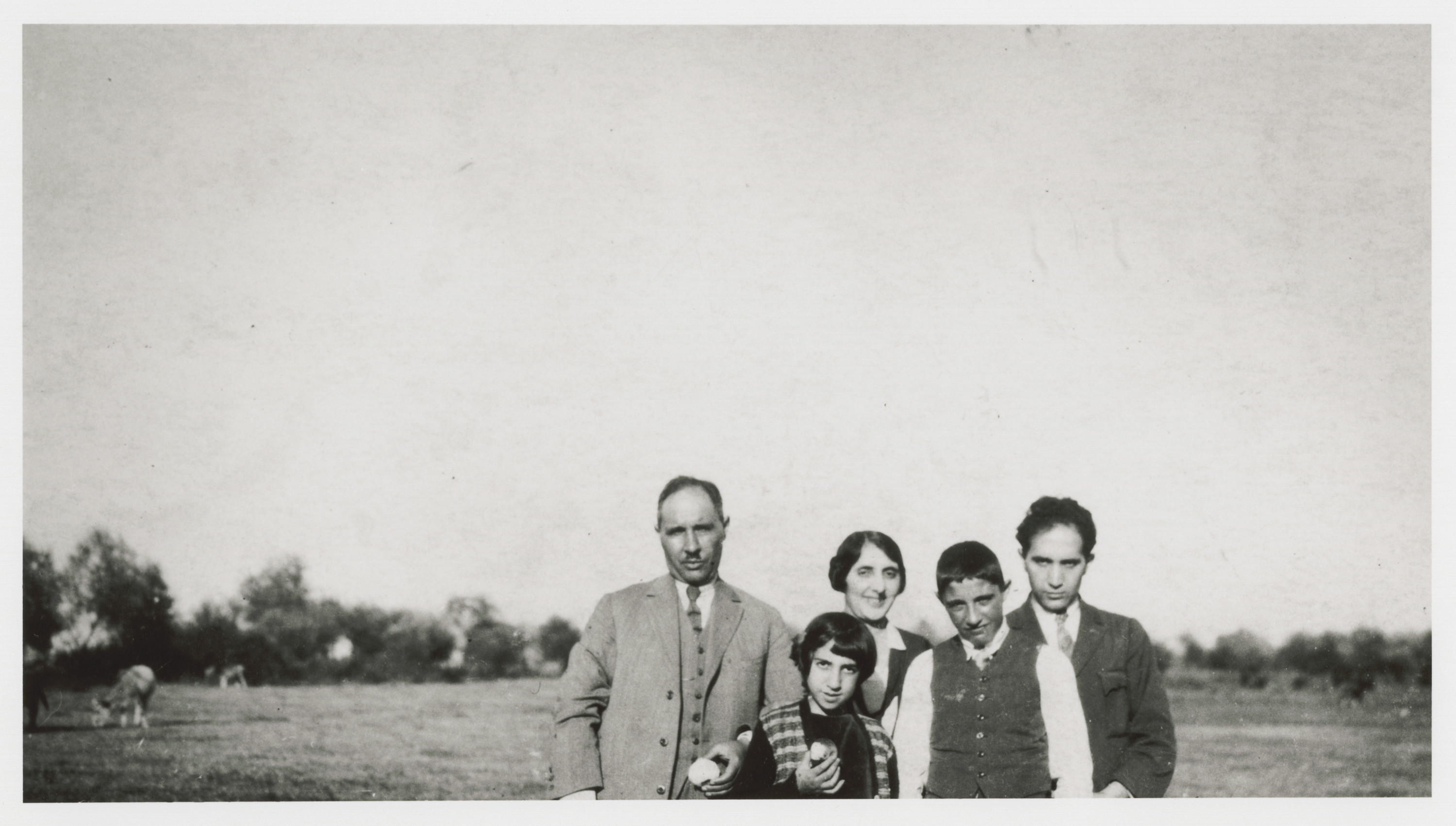 A Jewish family near Monastir (Bitola).  Pictured are (front, left to right): Rachel and Jacques Nahmias, and (back, left to right)  Avram Nahmias, Mrs. Chanah Mayo, and Isaac Nahmias.